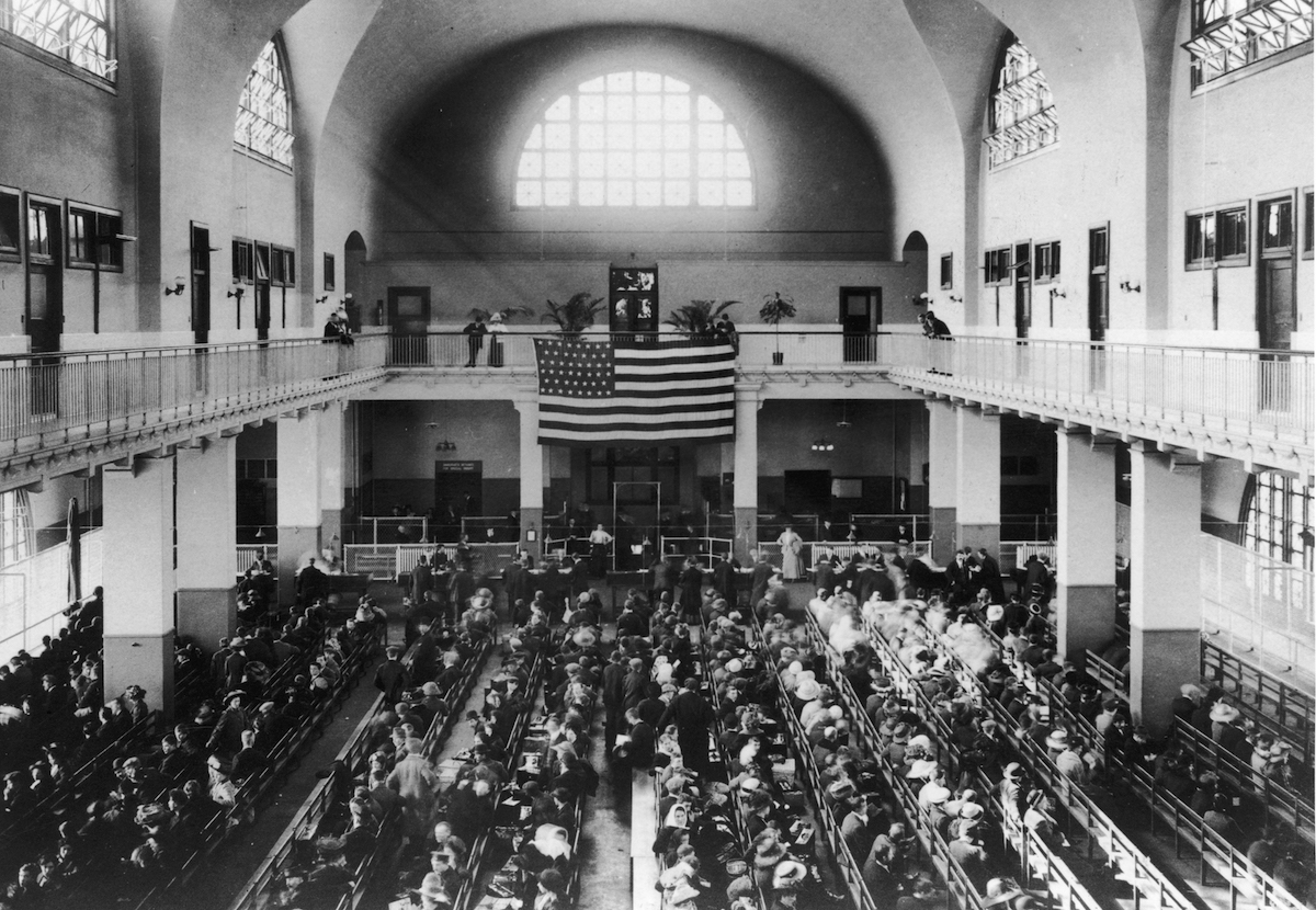 A General View of Ellis Island, New York circa 1880.