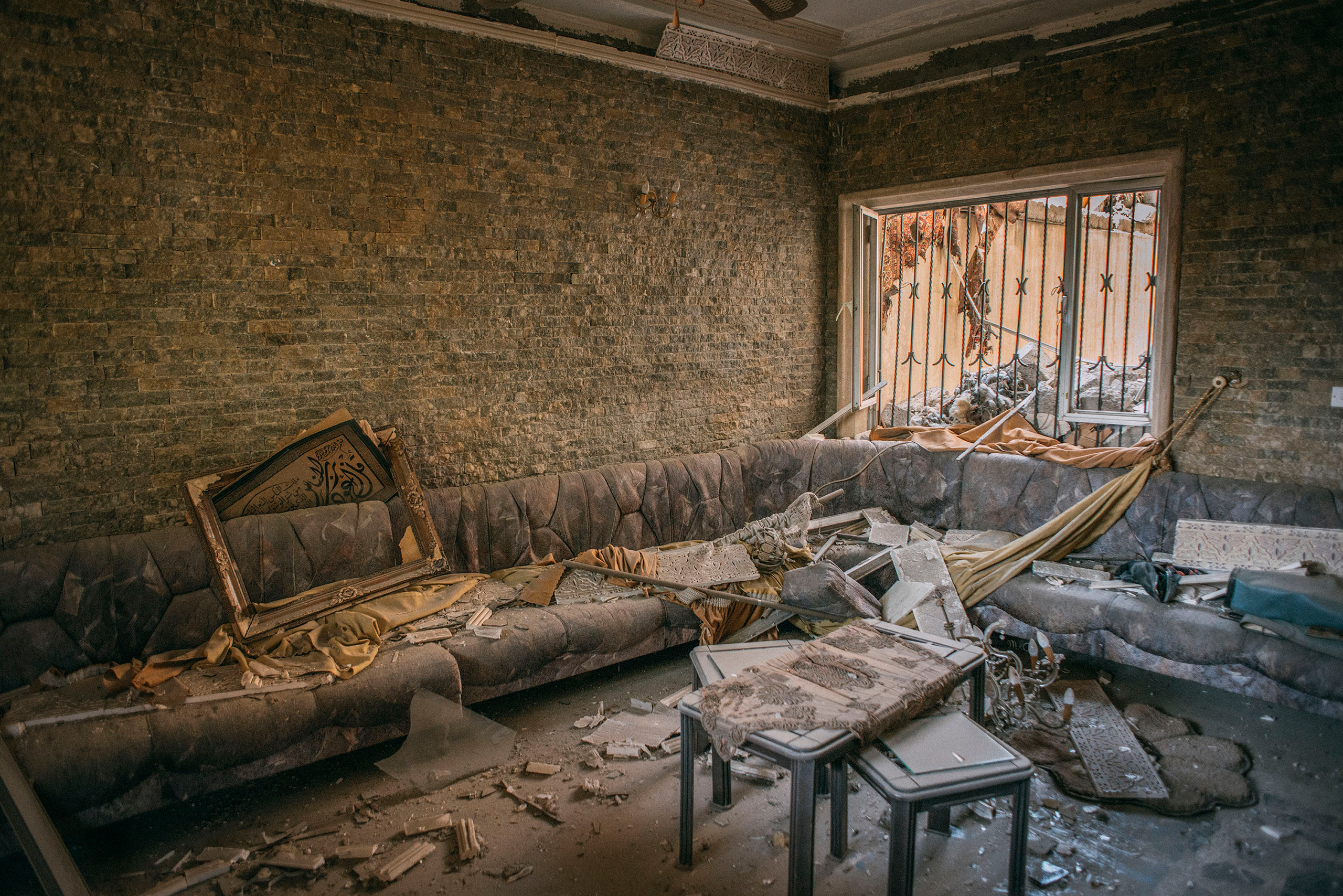 A room inside the home of Median Hikmat al-Galou that was ravaged during a February battle between Iraqi forces and ISIS in southwest Mosul.