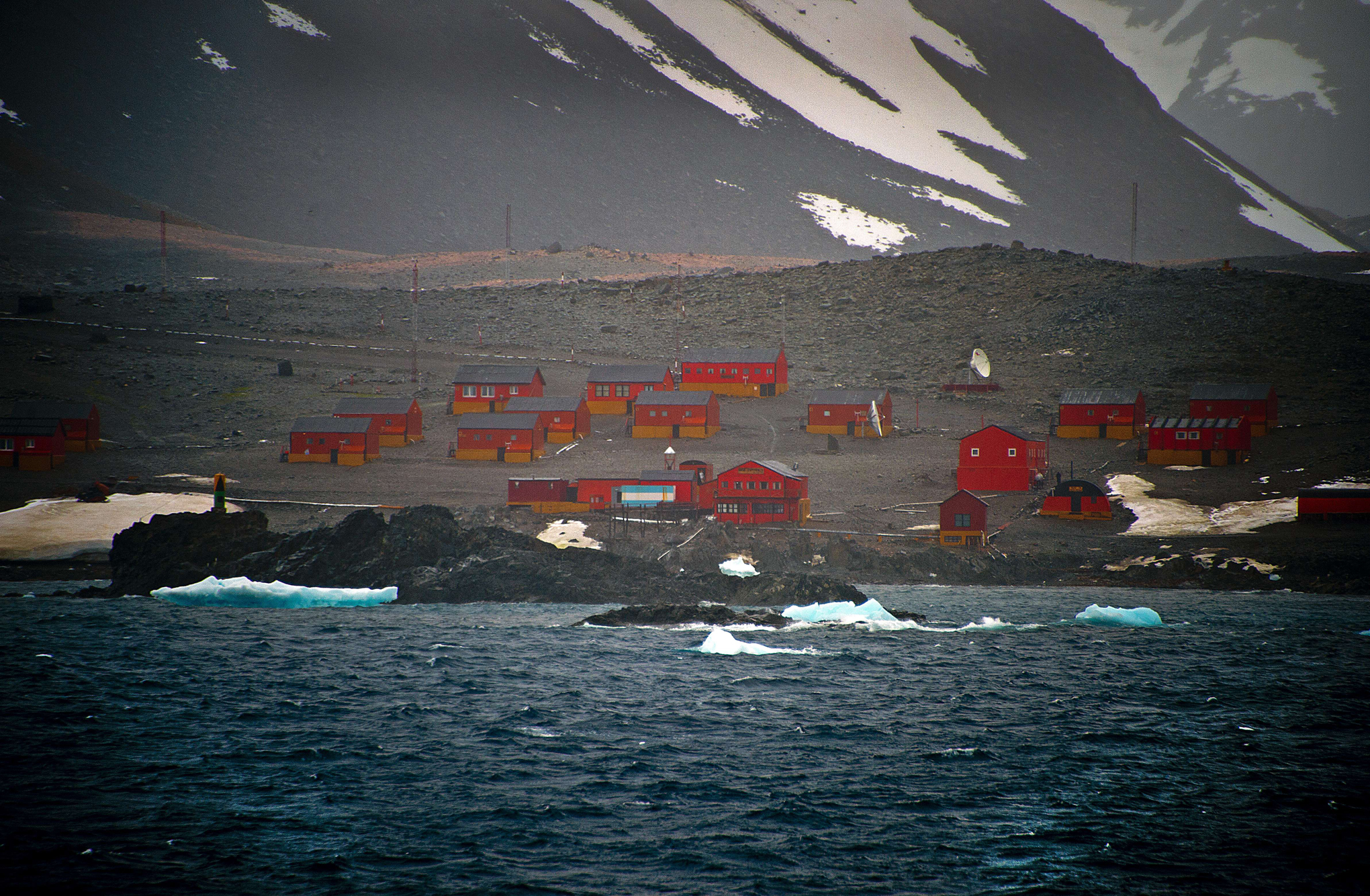 View of the Argentinian Esperanza military base from the Brazilian Navy's Oceanographic Ship Ary Rongel in Antarctica on March 5, 2014.