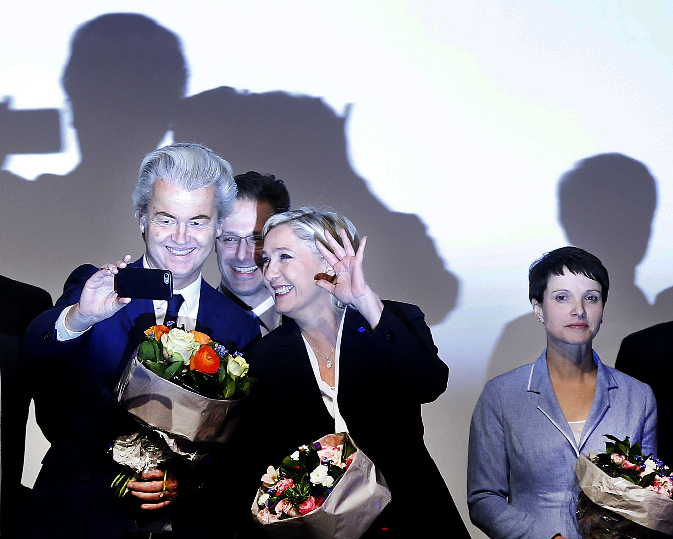 Populists on parade: Holland's Geert Wilders, left, France's Marine LePen and Germany's Frauke Petry, farright