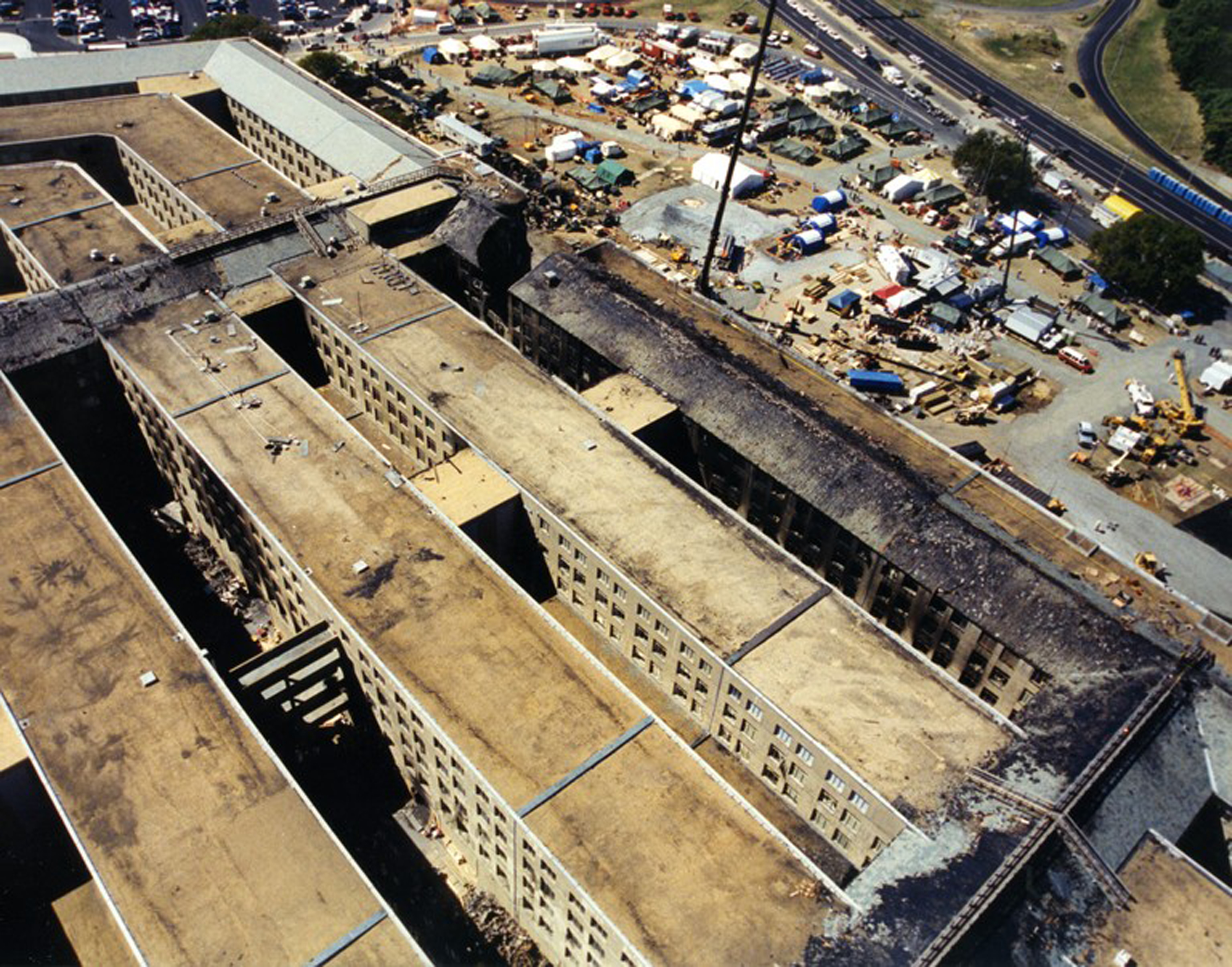 An overhead view of damage after the hijacked American Airlines Flight 77 crashed into the Pentagon in Arlington County, Virginia, on Sept. 11, 2001.