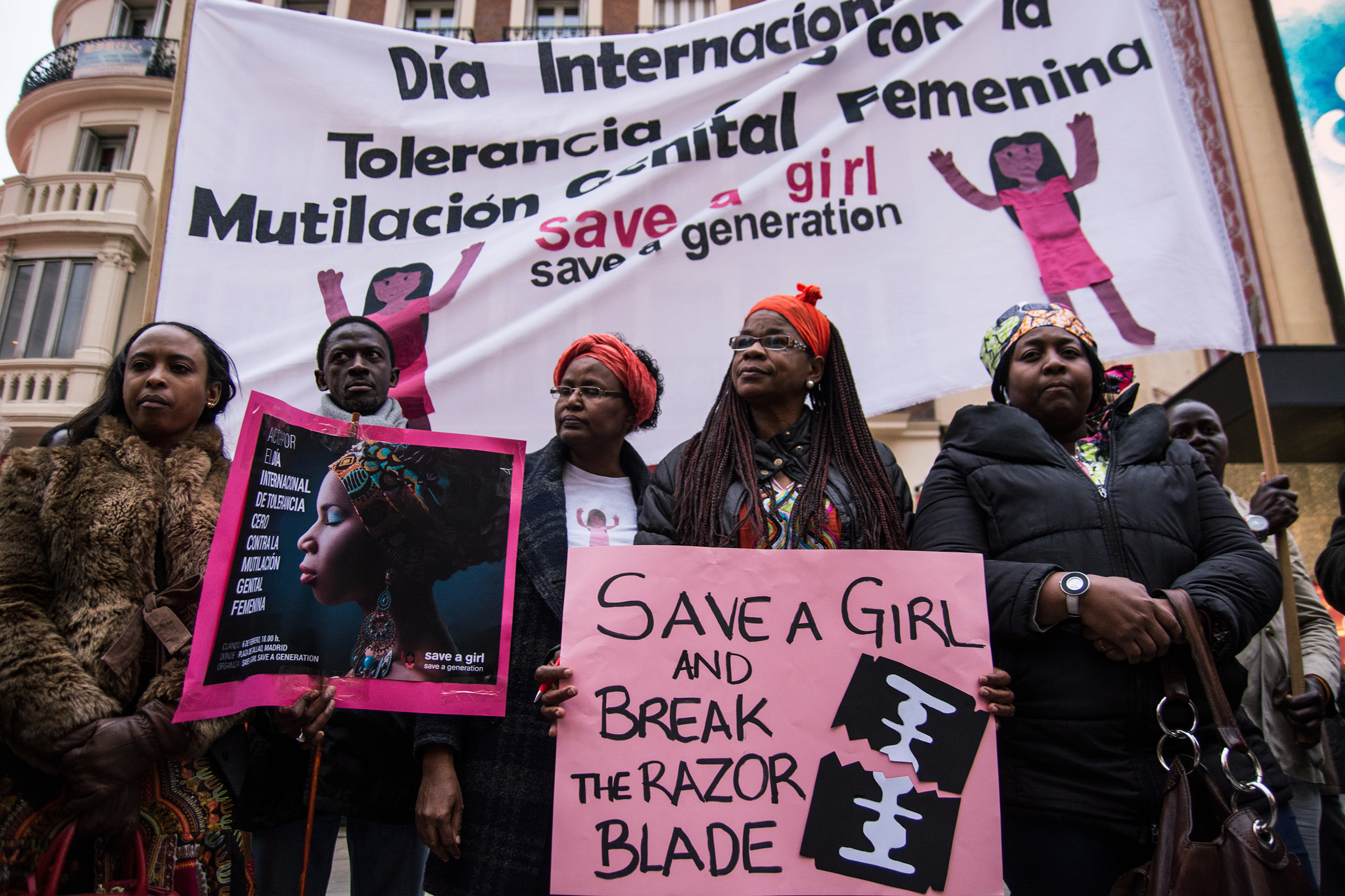 People protest during a rally marking International Day of Zero Tolerance to Female Genital Mutilation in Madrid on Feb. 6, 2016.