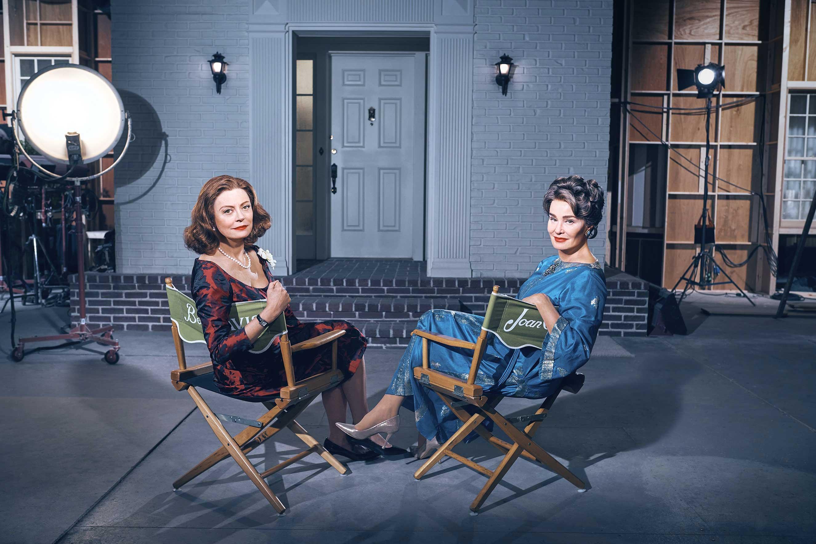(L-R) Susan Sarandon as Bette Davis, Jessica Lange as Joan Crawford in FX Network's 'Feud'