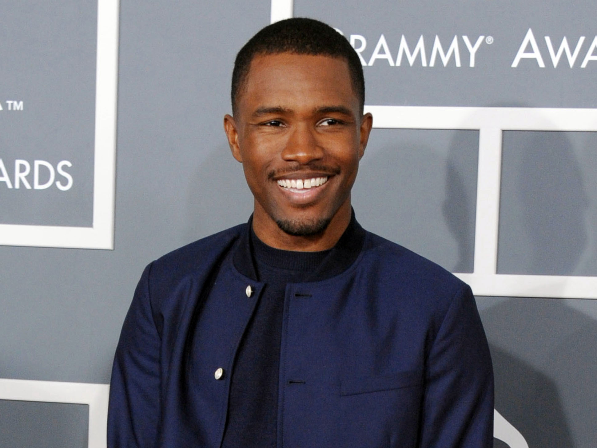 Frank Ocean arrives at the 55th annual Grammy Awards in Los Angeles, on Feb. 10, 2013.