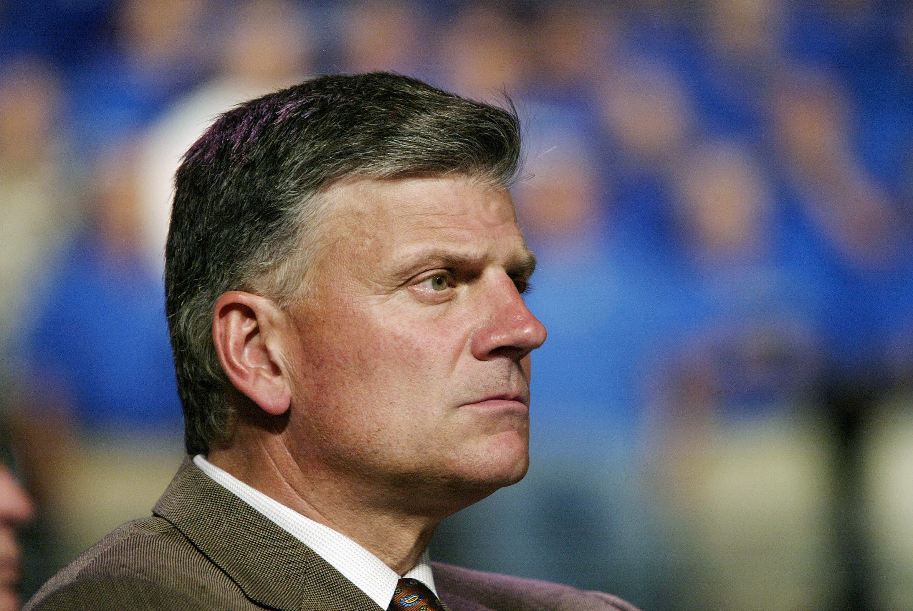 Reverend Franklin Graham looks on at a Billy Graham rally on June 12, 2003 in Oklahoma City, Oklahoma.