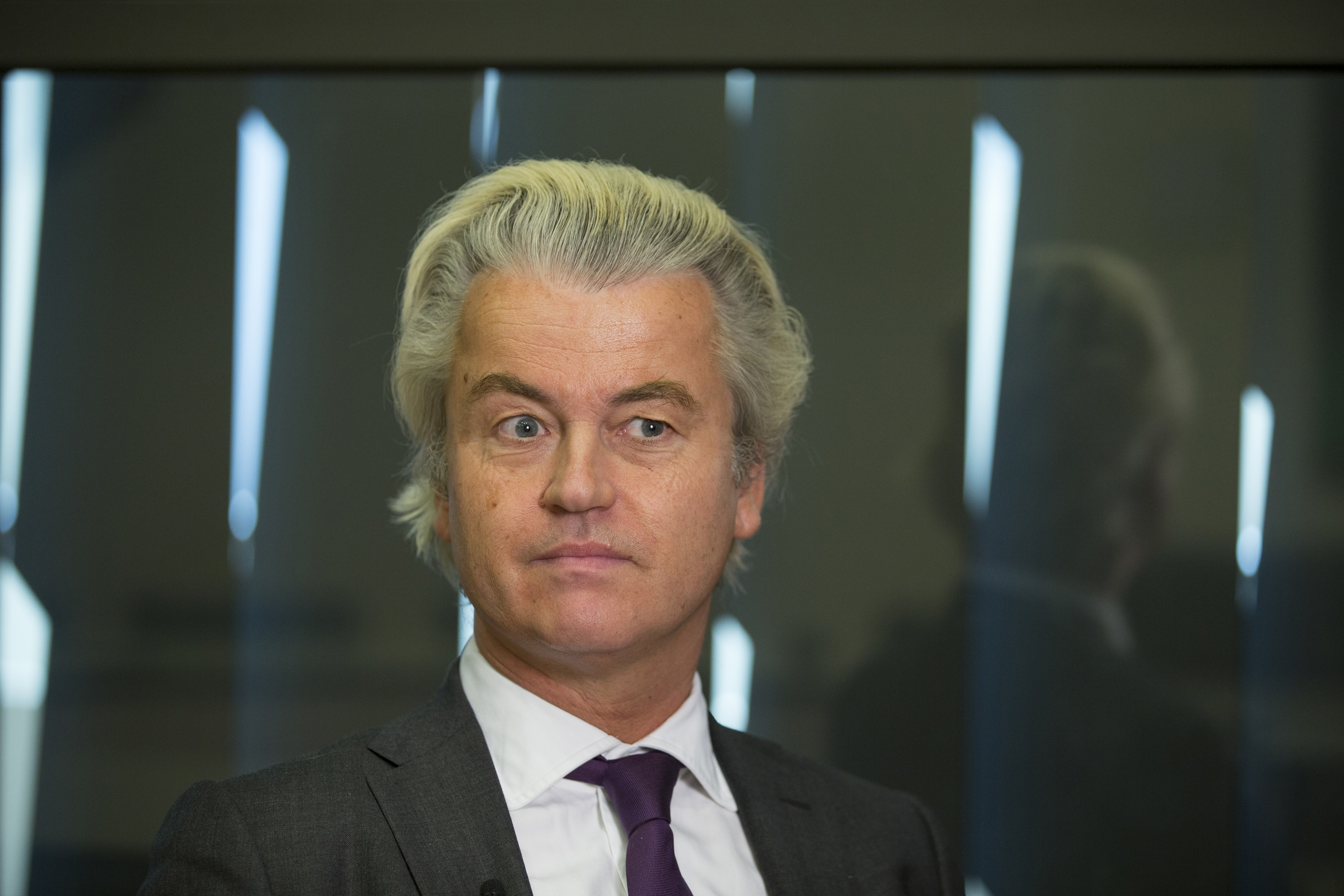 Geert Wilders, leader of the Freedom Party, reacts during an interview in The Hague, Netherlands, on Thursday, June 16, 2016..