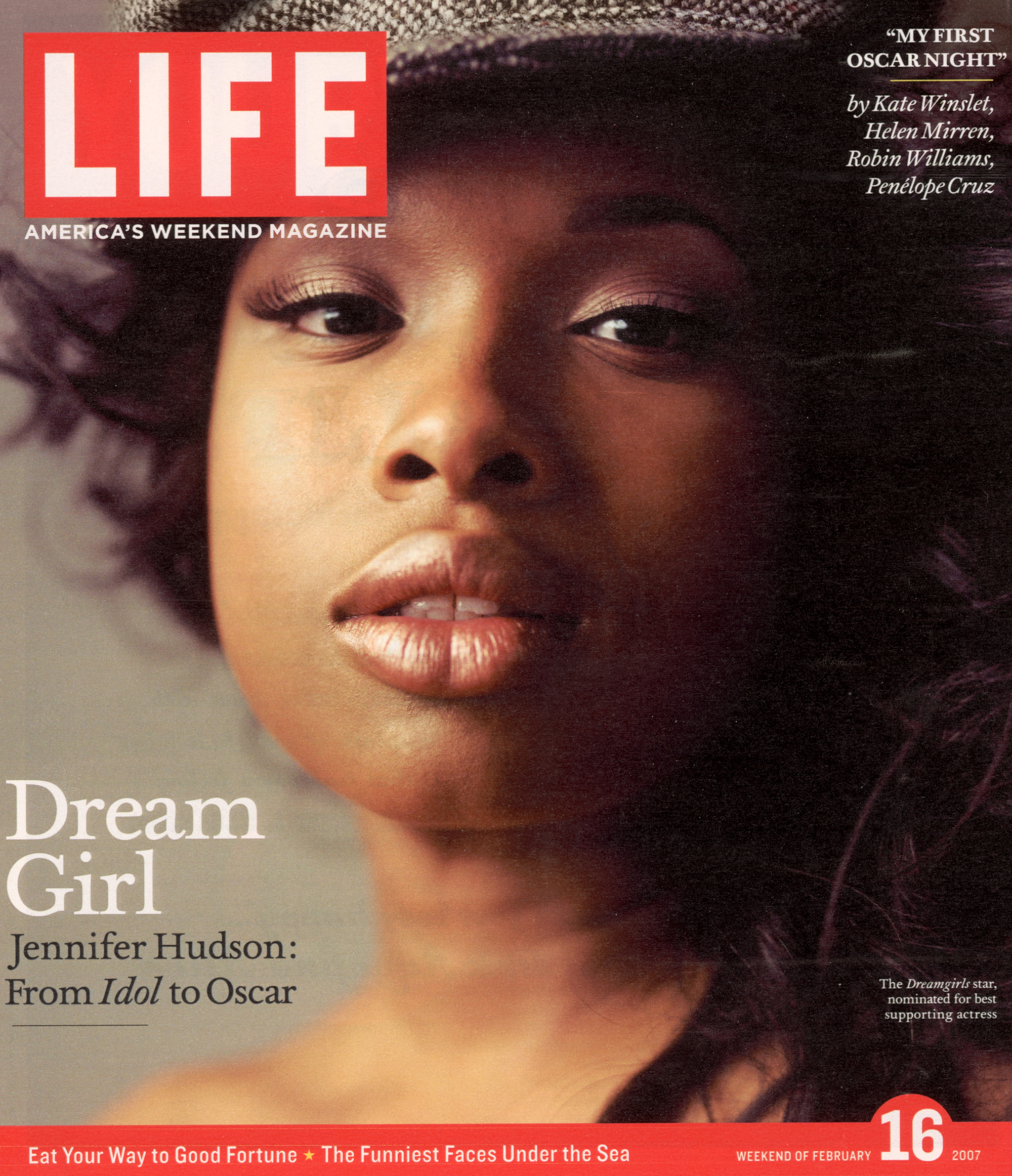 Portrait of Academy Award nominee Jennifer Hudson on LIFE Cover 02-16-2007.