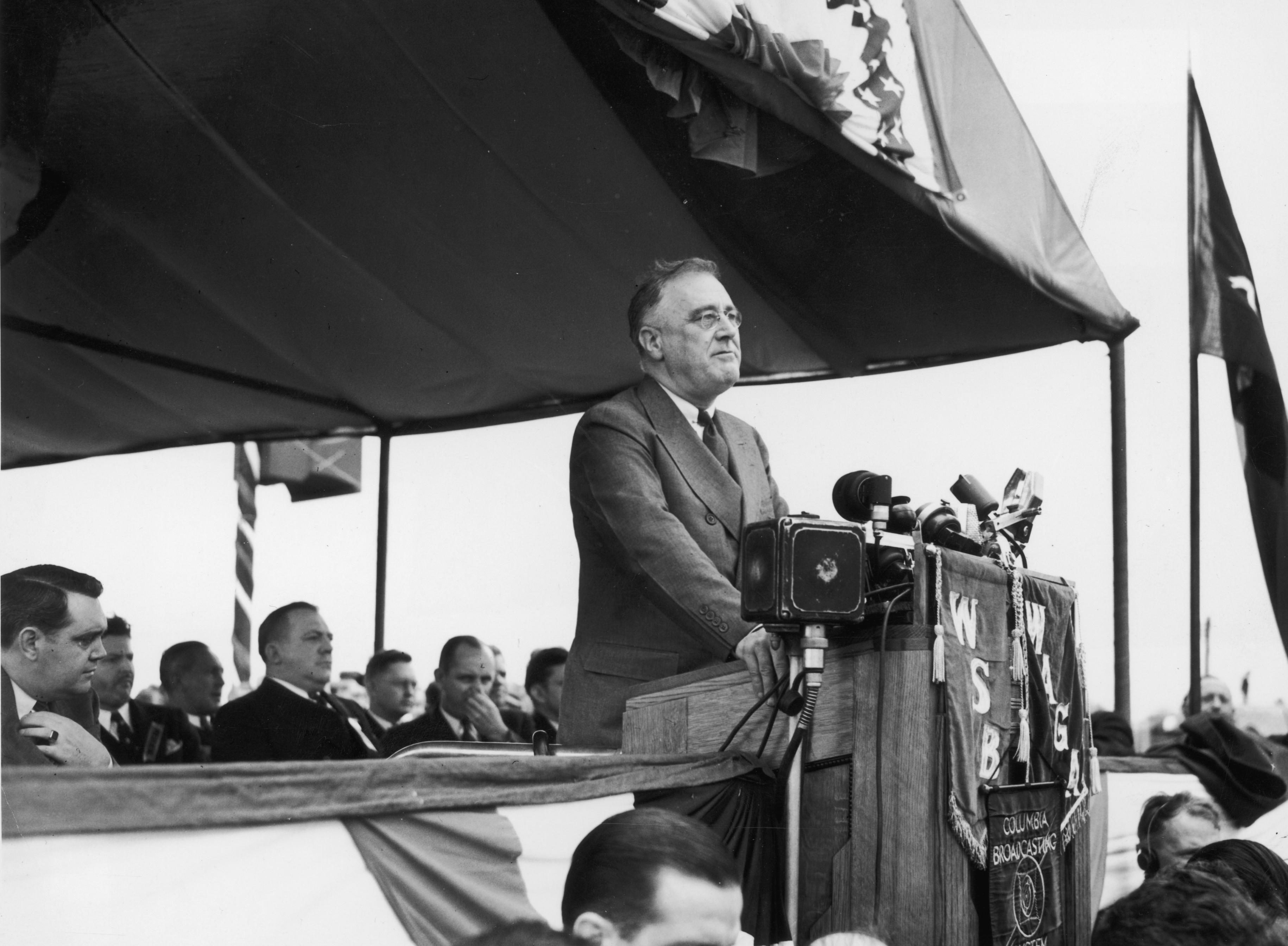 President Franklin Delano Roosevelt speaks at the dedication of Roosevelt Square in Gainsville, Georgia on March 23, 1938.