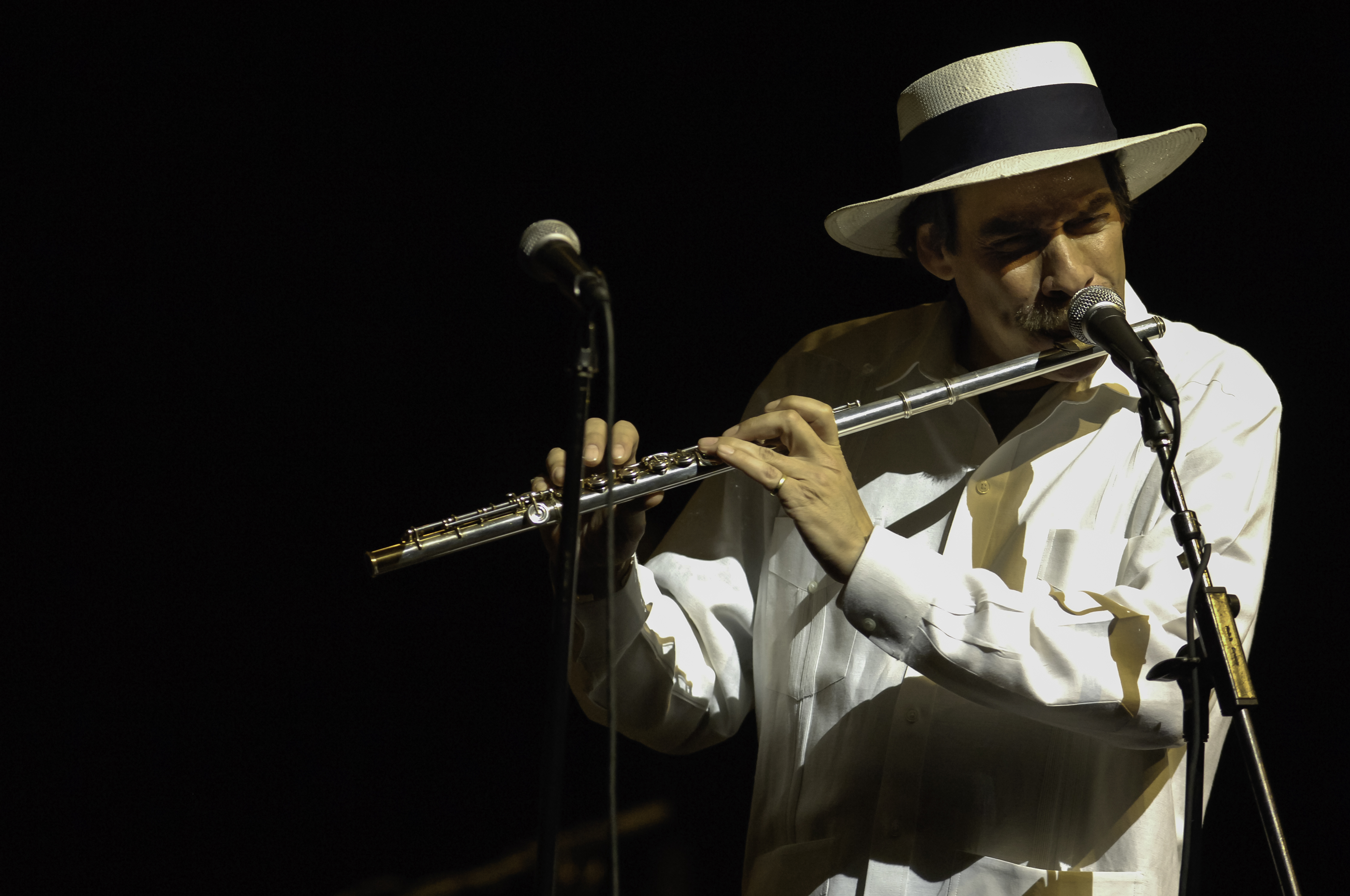 American Latin Jazz musician Dave Valentin performs on flute  at Lehman Center for the Performing Arts , Bronx, New York, New York, May 6, 2005.