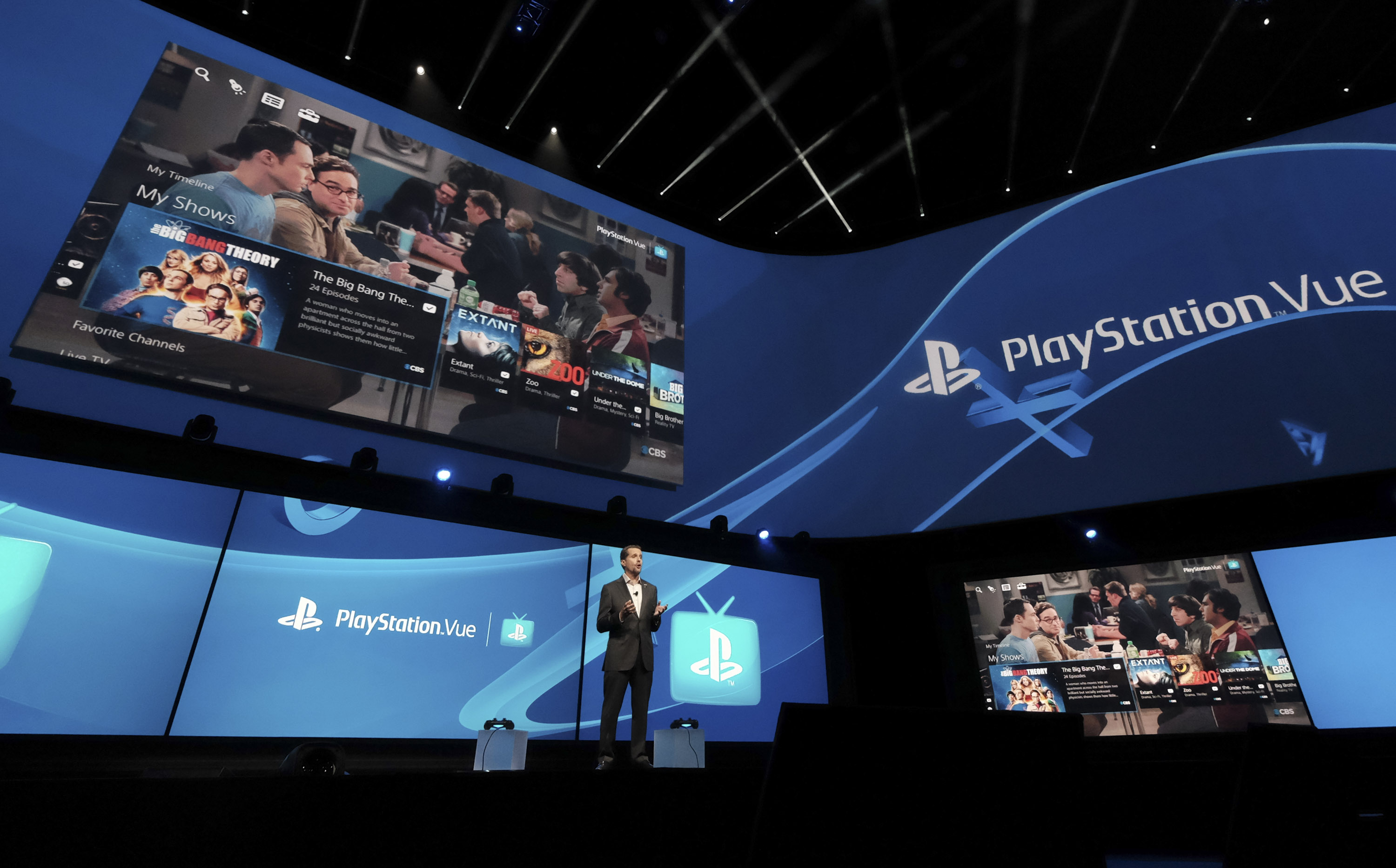 ndrew House, President and Global CEO of Sony Computer Entertainment Inc., announces the launch of PlayStation Vue in the Greater Los Angeles and San Francisco Bay Area TV markets, as well as a-la-carte offerings nationwide at PlayStation's E3 2015 Press Conference on Monday June 15, 2015 in Los Angeles, California.