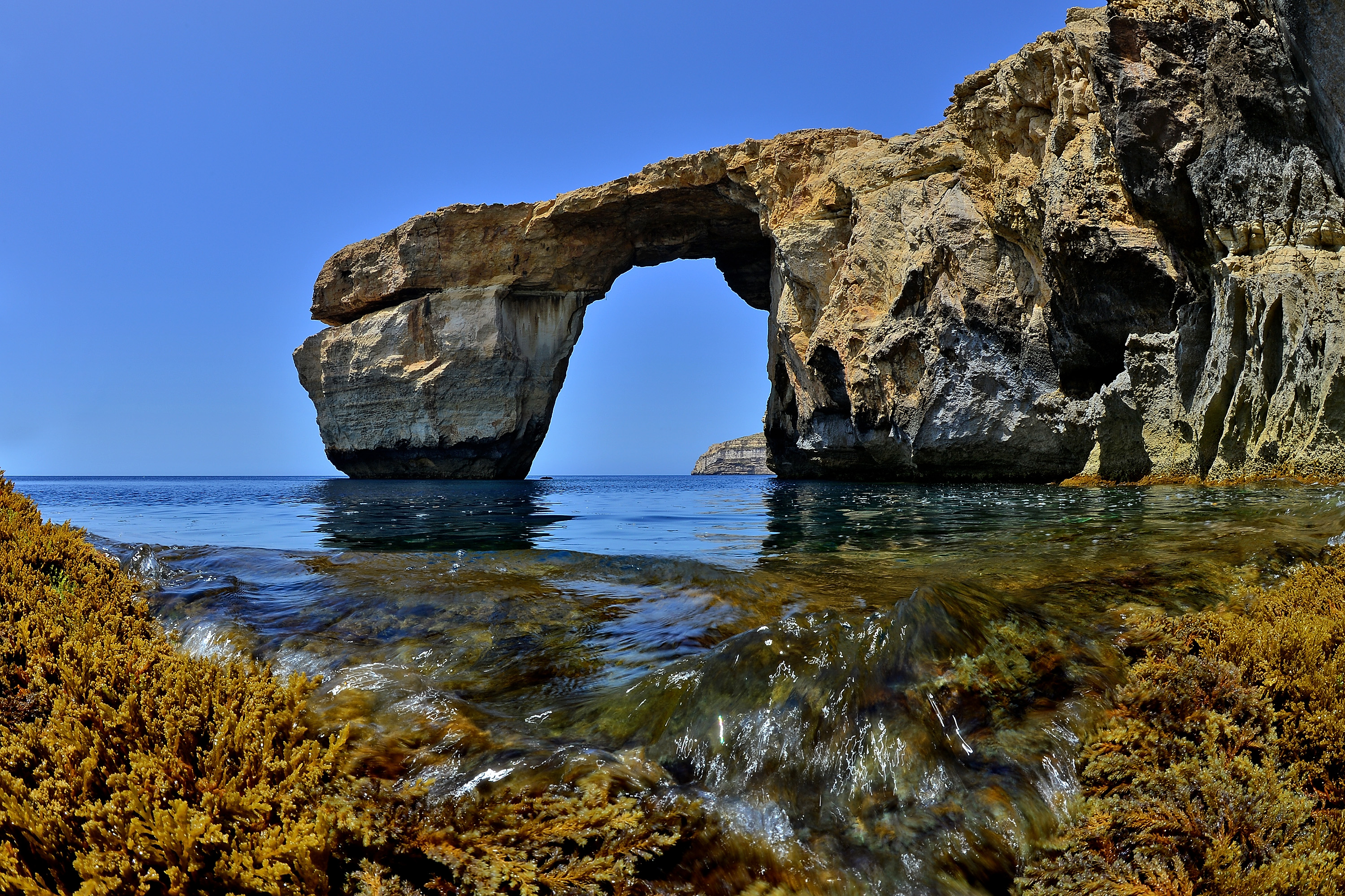DWEJRA, GOZO - MAY 20:  The natural arch 'The Azure Window' is seen at Dwejra Bay on May 20, 2014 in Dwejra/Gozo, Malta.