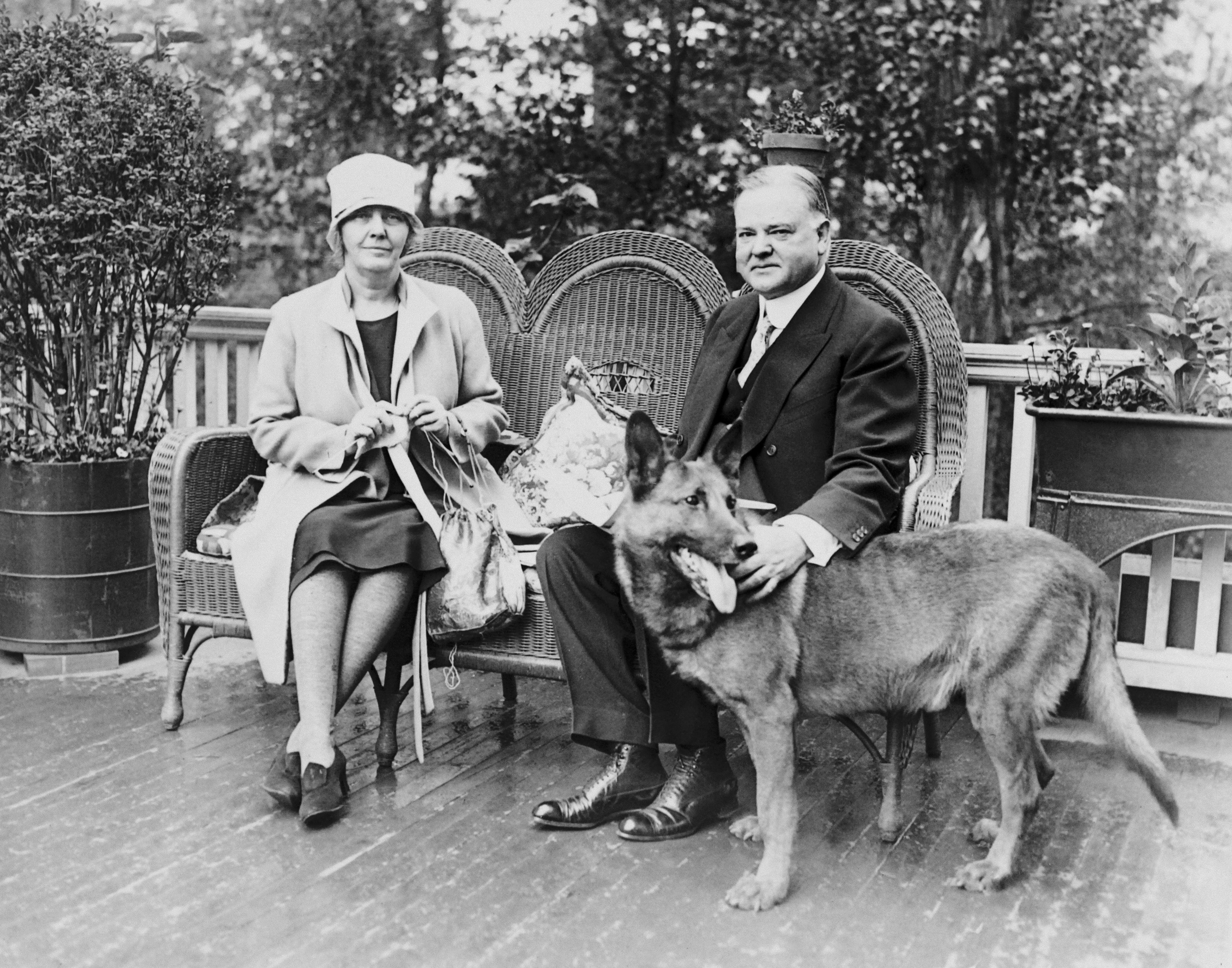 Herbert Hoover and wife Lou Henry in their estate in 1927 in the United States