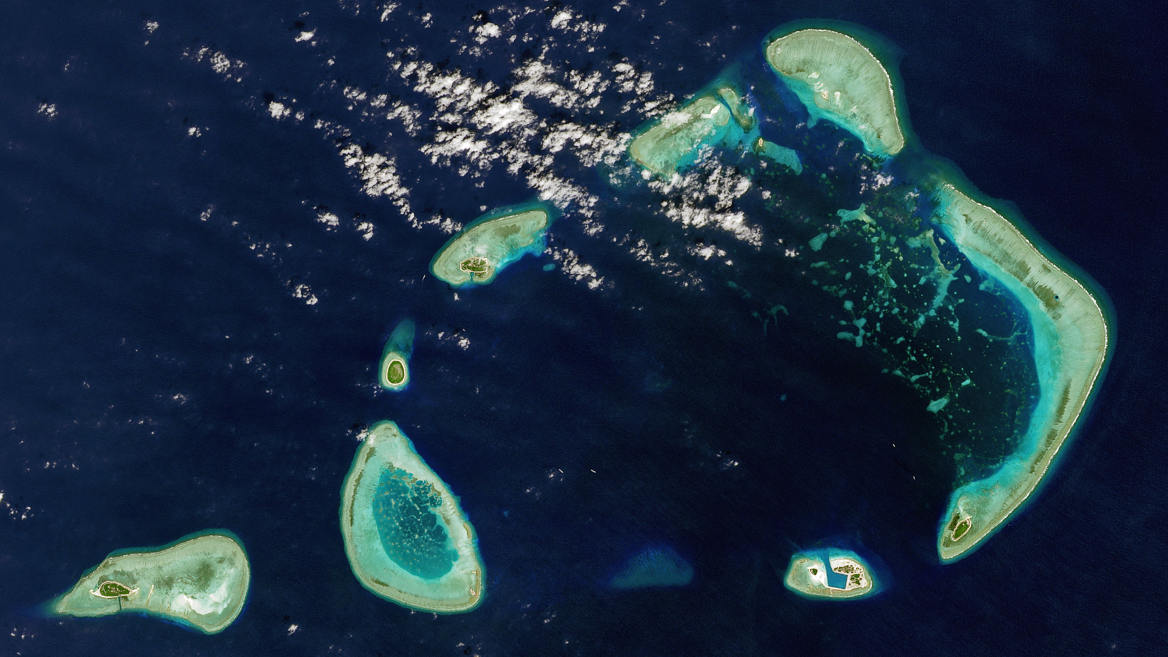 A satellite view of the Crescent Group of islands which is part of the disputed Paracel Islands located in the South China Sea on Jan. 22, 2016.