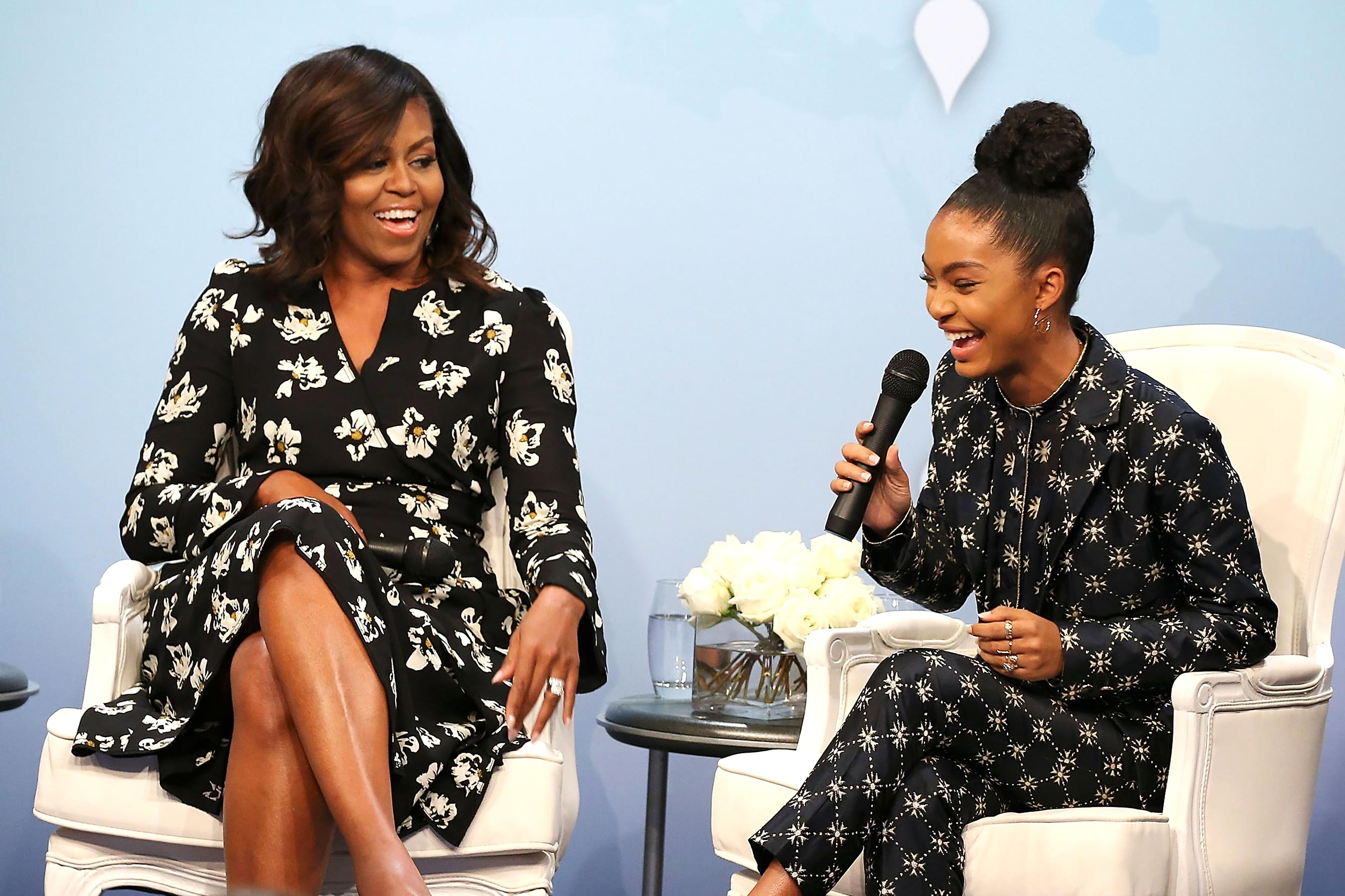 WASHINGTON, DC - OCTOBER 11:  First Lady of the United States Michelle Obama (L) and actress and activist Yara Shahidi participate in panel discussion at Glamour Hosts  A Brighter Future: A Global Conversation on Girls' Education  with First Lady Michelle Obama at The Newseum on October 11, 2016 in Washington, DC.  (Photo by Paul Morigi/Getty Images for Glamour)