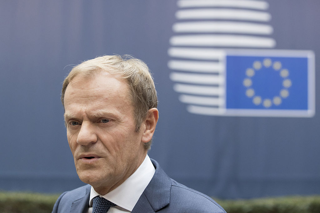 Donald Tusk, president of the European Union, speaks to journalists as he arrives for a meeting of EU leaders in Brussels, Belgium, on Thursday, Oct. 20, 2016.