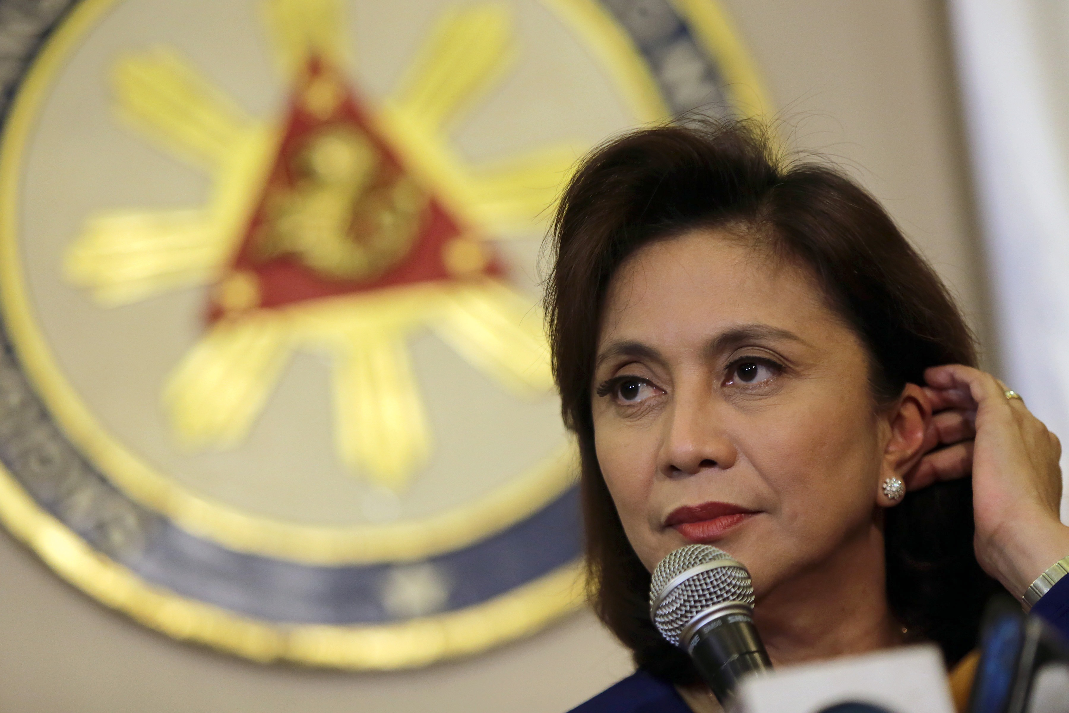 Philippine Vice President Leni Robredo speaks during a press conference in Quezon City, the Philippines, Dec. 5, 2016.