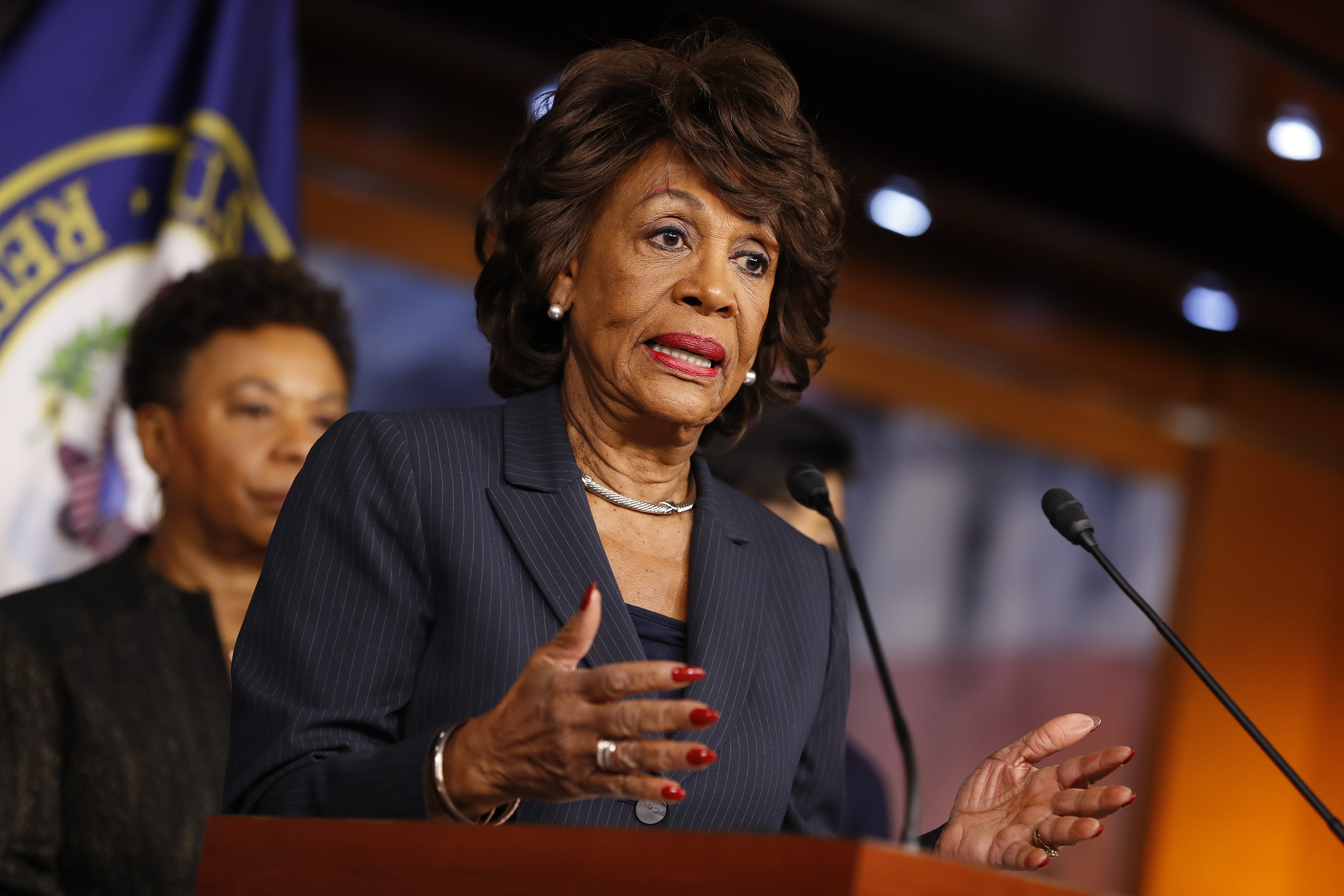 Maxine Waters (D-CA) speaks at a press conference on Capitol Hill Jan. 31, 2017 in Washington, DC.