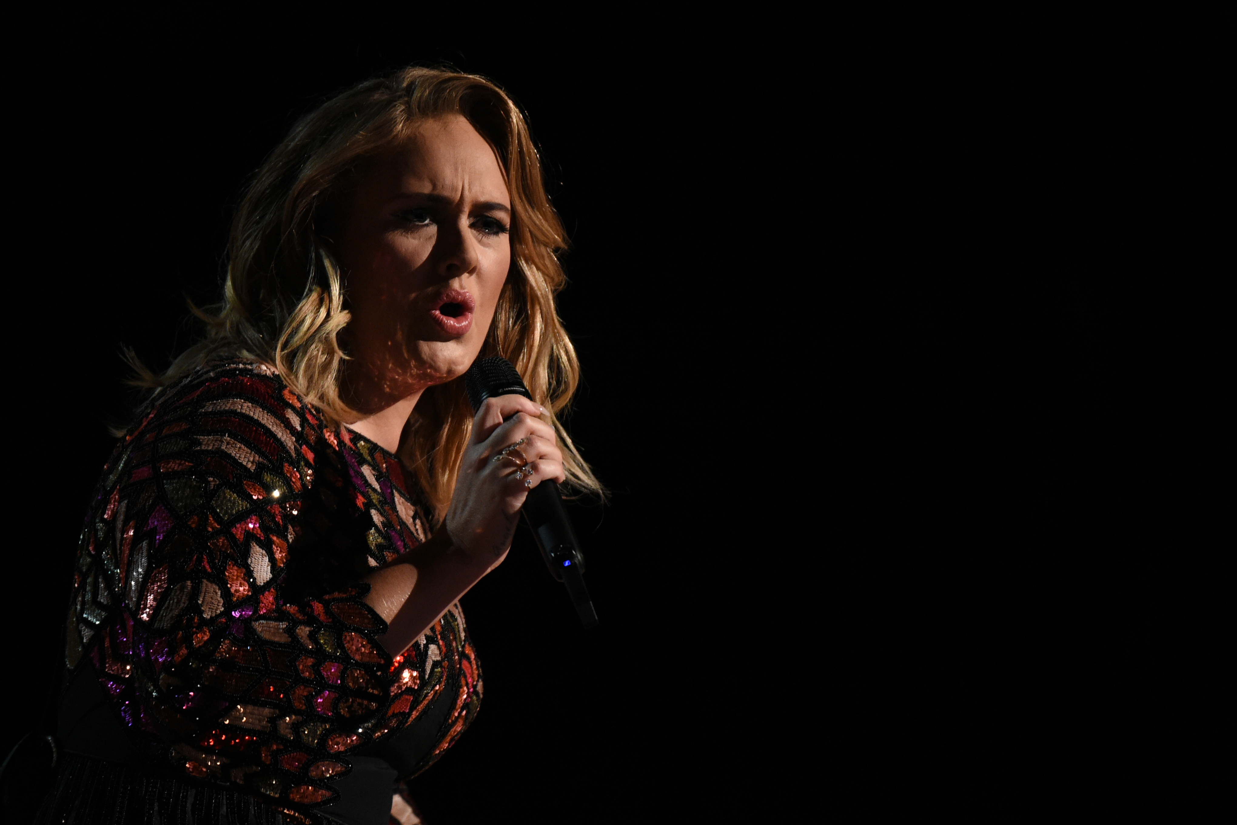 British singer Adele performs onstage during the 59th Annual Grammy music Awards on February 12, 2017, in Los Angeles, California.