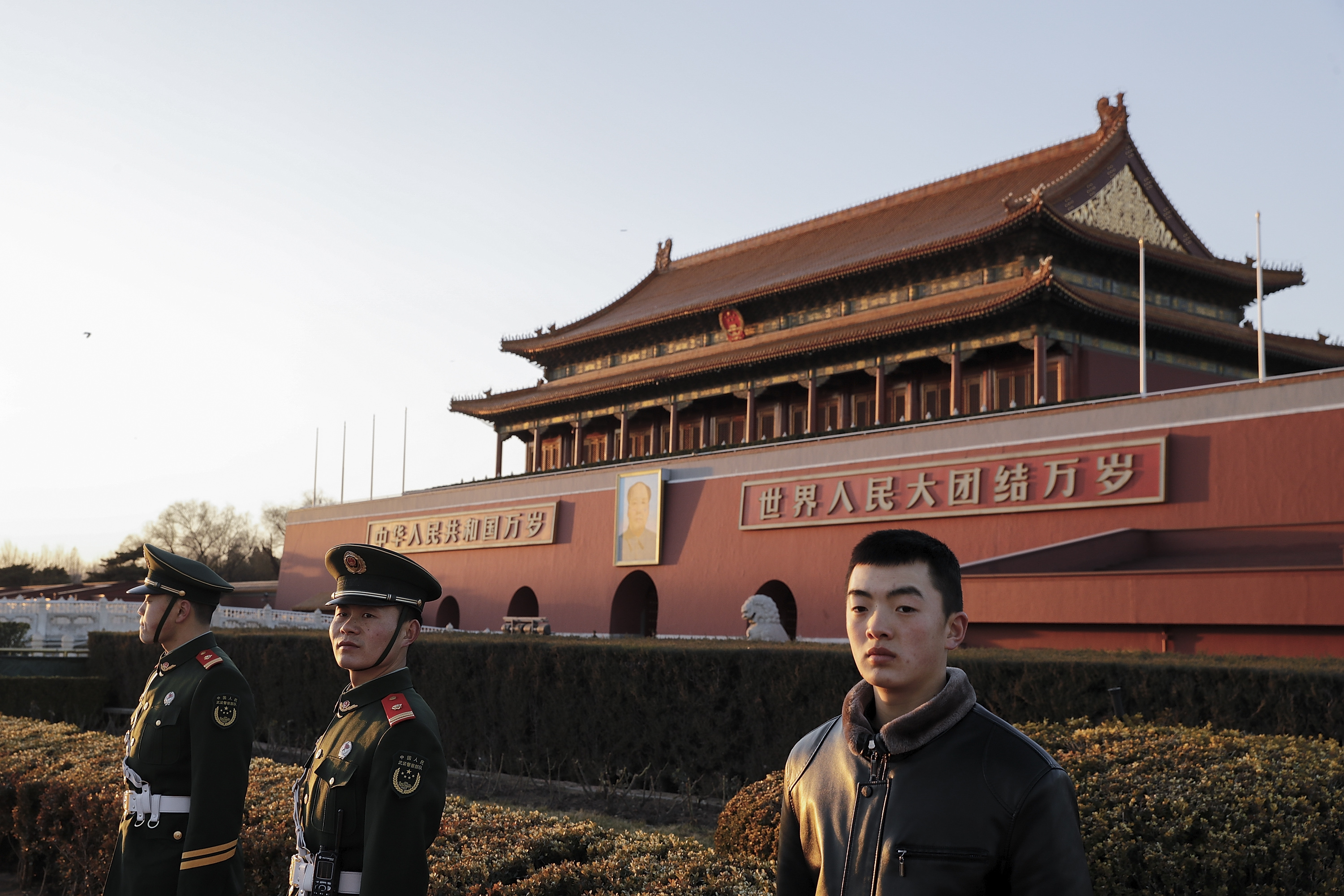 Armed policemen patrol for  two sessions  at Tiananmen Square on March 1, 2017, in Beijing
