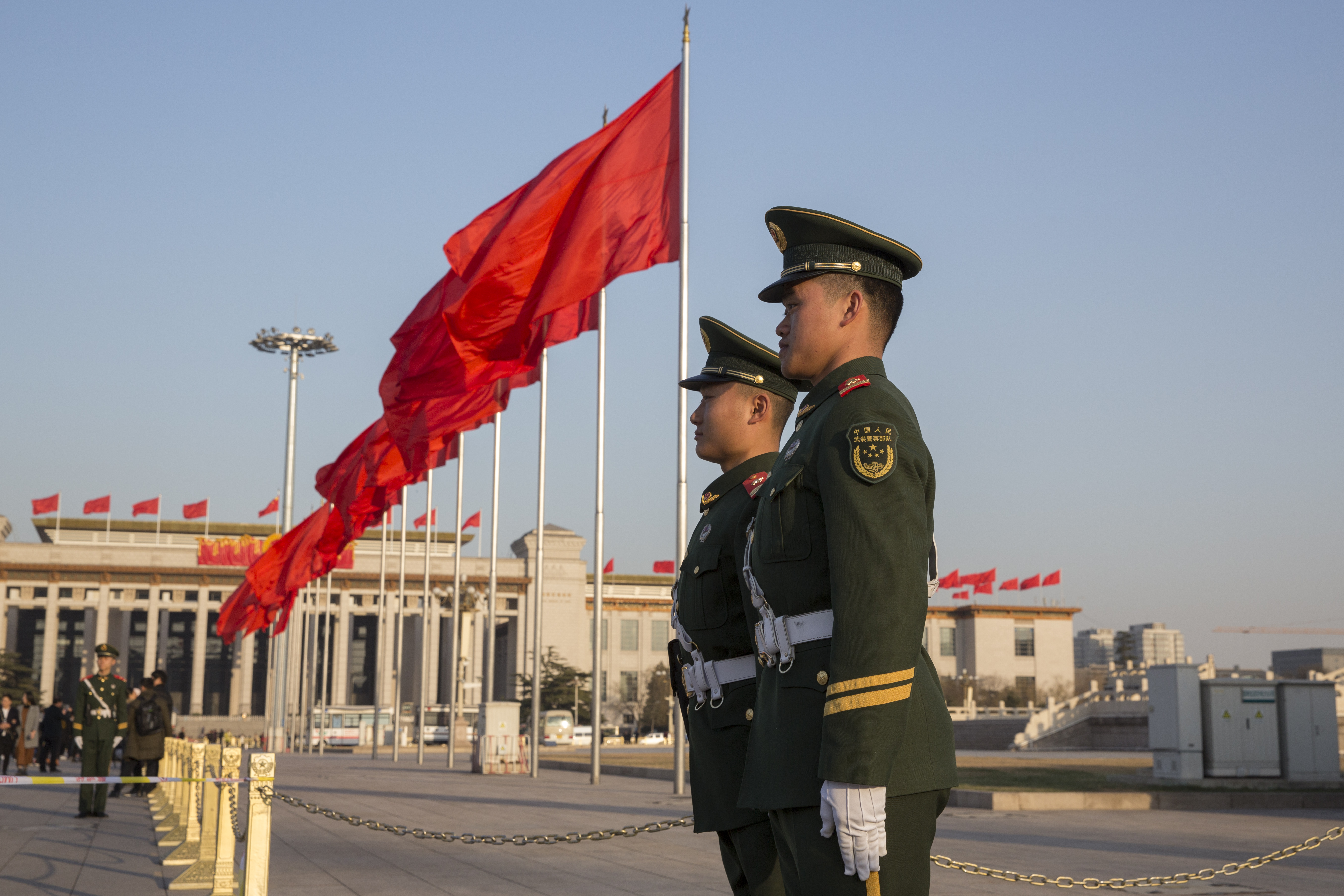 Armed policemen patrol for two sessions at Tian'anmen Square on March 2, 2017 in Beijing, China.