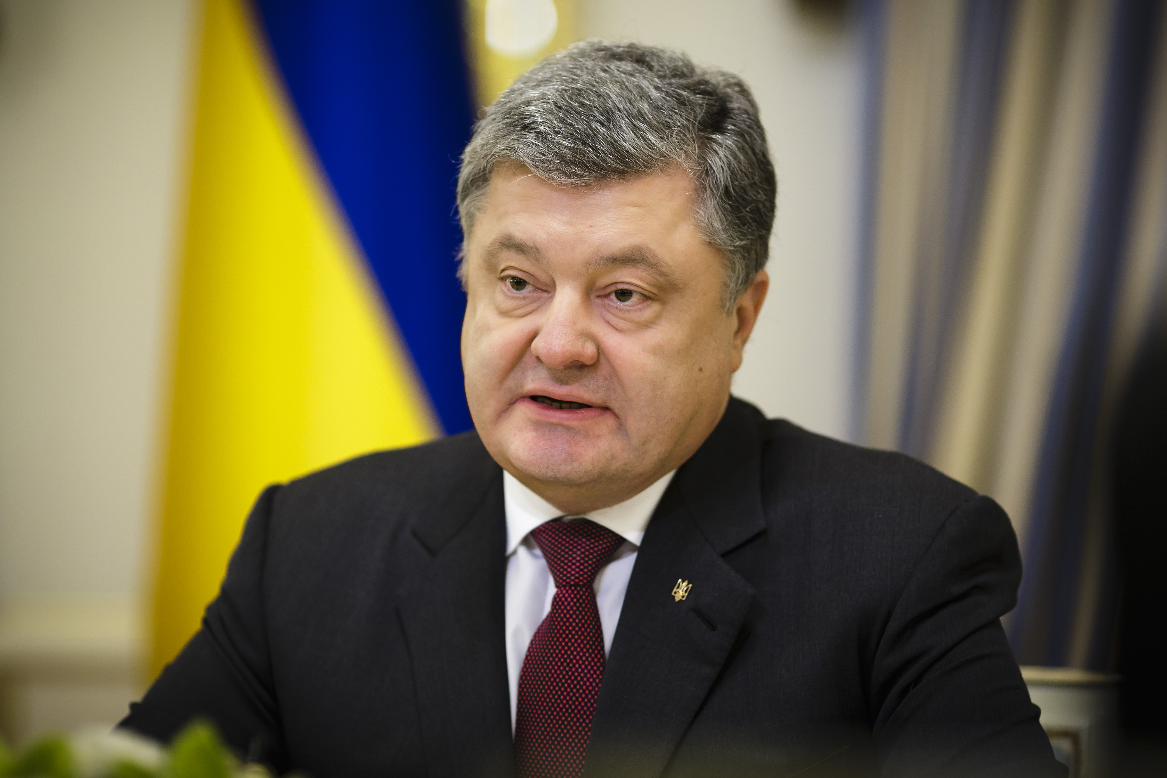President of Ukraine Petro Poroschenko on March 02, 2017 in Kiev, Ukraine. Gabriel is on a two-day trip to conduct talks with government representatives.