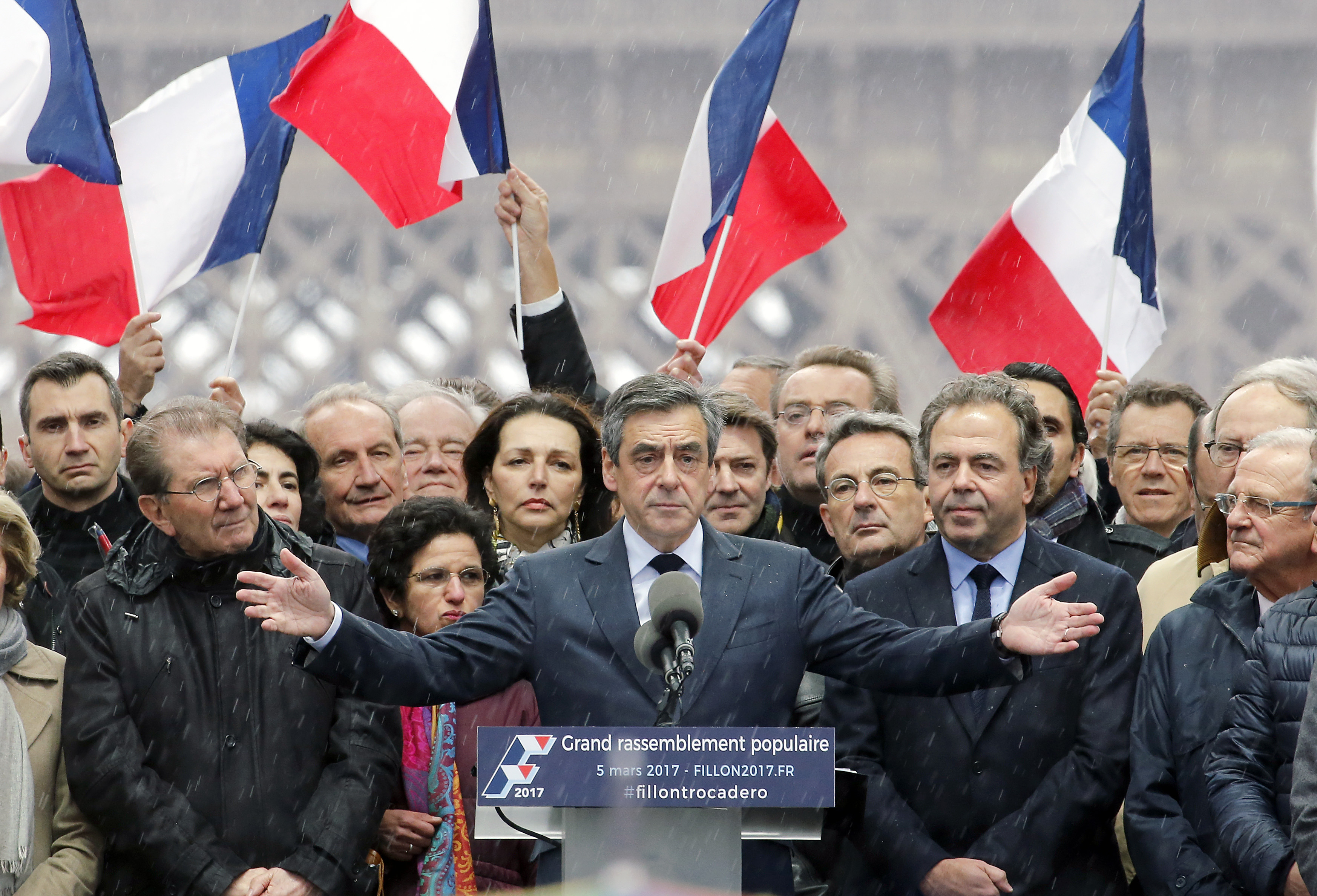 French presidential candidate Francois Fillon delivers a speech during a campaign rally on March 5, 2017, in Paris, France.
