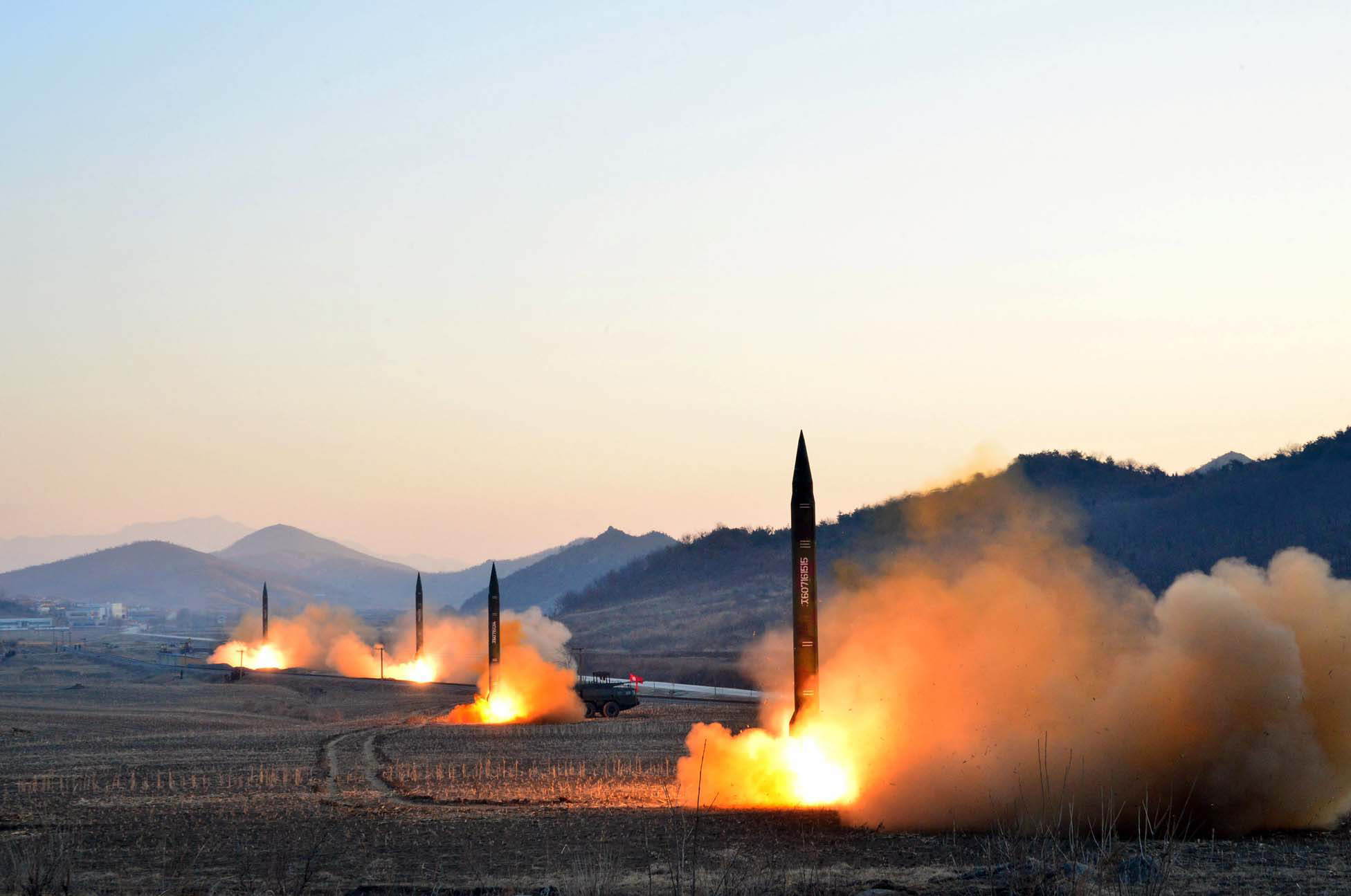 This undated picture released by North Korea's Korean Central News Agency (KCNA) via KNS on March 7, 2017 shows the launch of four ballistic missiles by the Korean People's Army (KPA) during a military drill at an undisclosed location in North Korea.