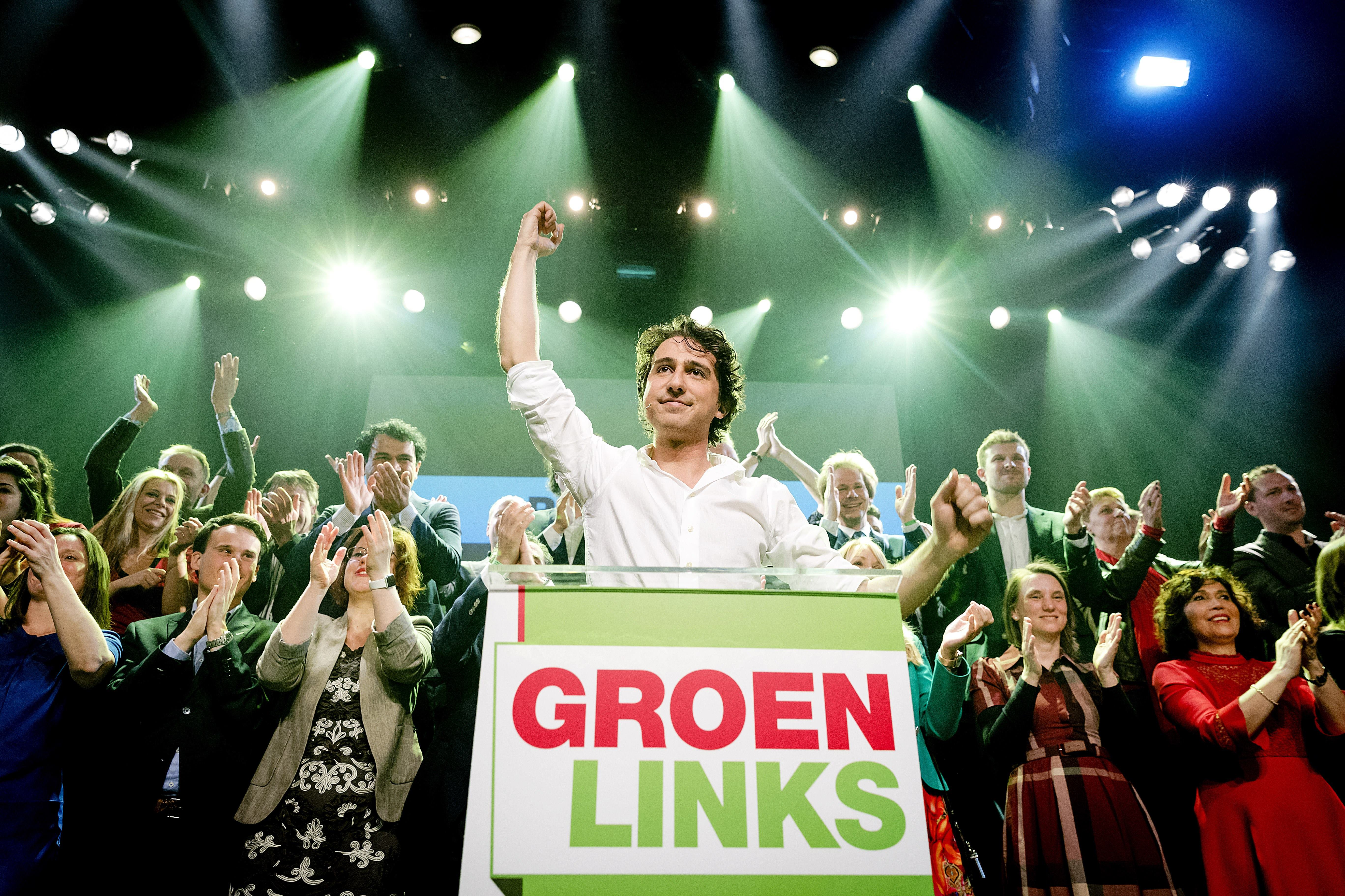 Leader Jesse Klaver of GroenLinks reacts during election night in Amsterdam, on March 15, 2017.                      The Liberal party of Dutch Prime Minister Mark Rutte was set to win the most seats in Wednesday's elections, forcing far-right Geert Wilders into second place along with two other parties,  the Christian Democratic Appeal and the Democracy party D66, exit polls predicted. / AFP PHOTO / ANP / Robin van Lonkhuijsen / Netherlands OUT        (Photo credit should read ROBIN VAN LONKHUIJSEN/AFP/Getty Images)