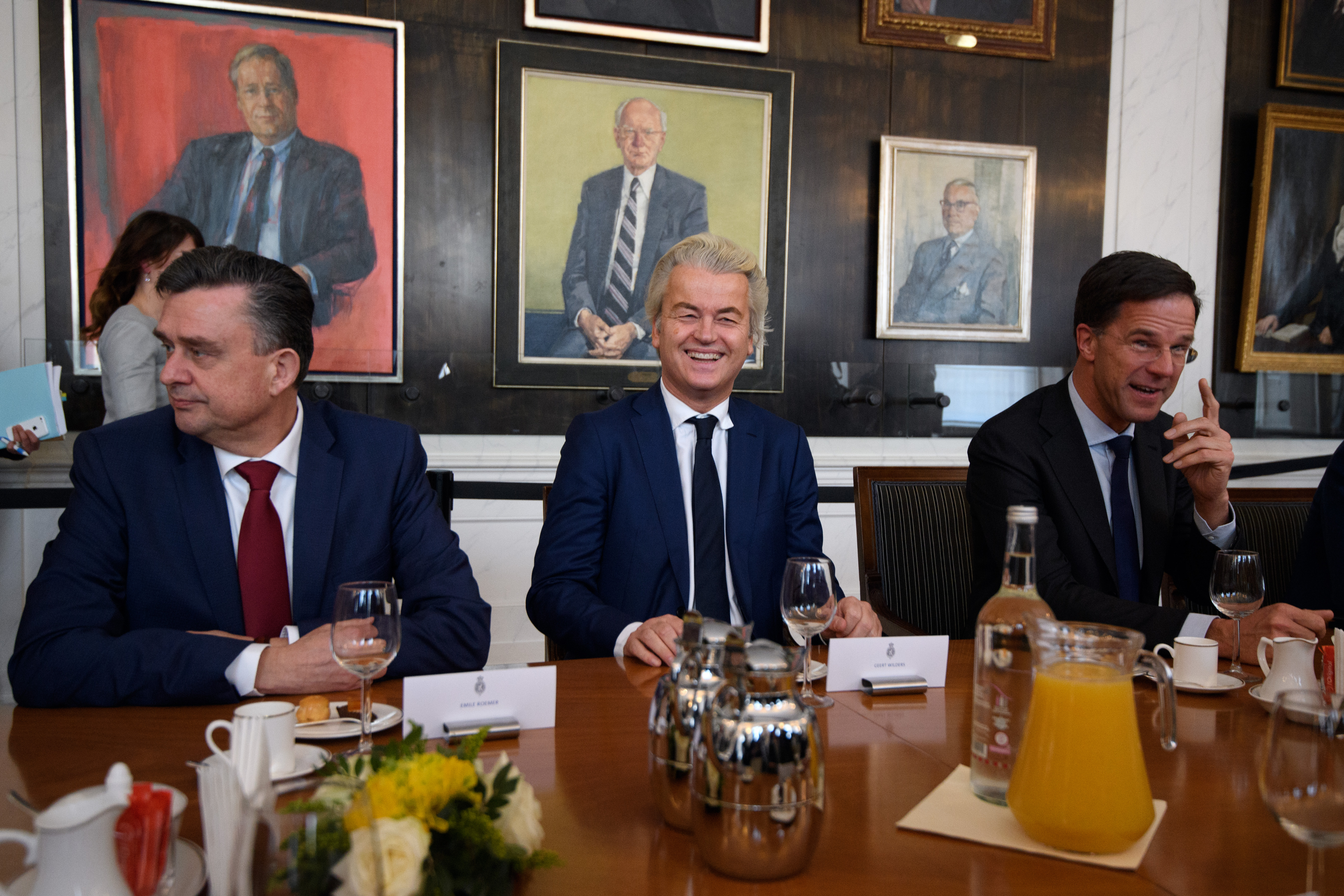 THE HAGUE, NETHERLANDS - MARCH 16:(L-R) Emile Roemer, leader of the Socialist Party; Party for Freedom (PVV) leader Geert Wilders and Dutch Prime Minister Mark Rutte attend a meeting of Dutch political party leaders at the House of Representatives to express their views on the formation of the cabinet, on March 16, 2017 in The Hague, Netherlands.