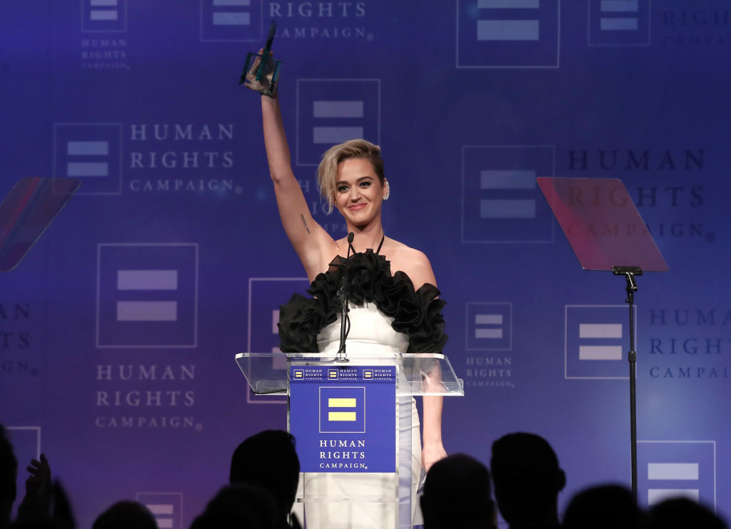 Honoree Katy Perry accepts the HRC National Equality Award at the Human Rights Campaign's 2017 Los Angeles Gala Dinner on March 18, 2017.