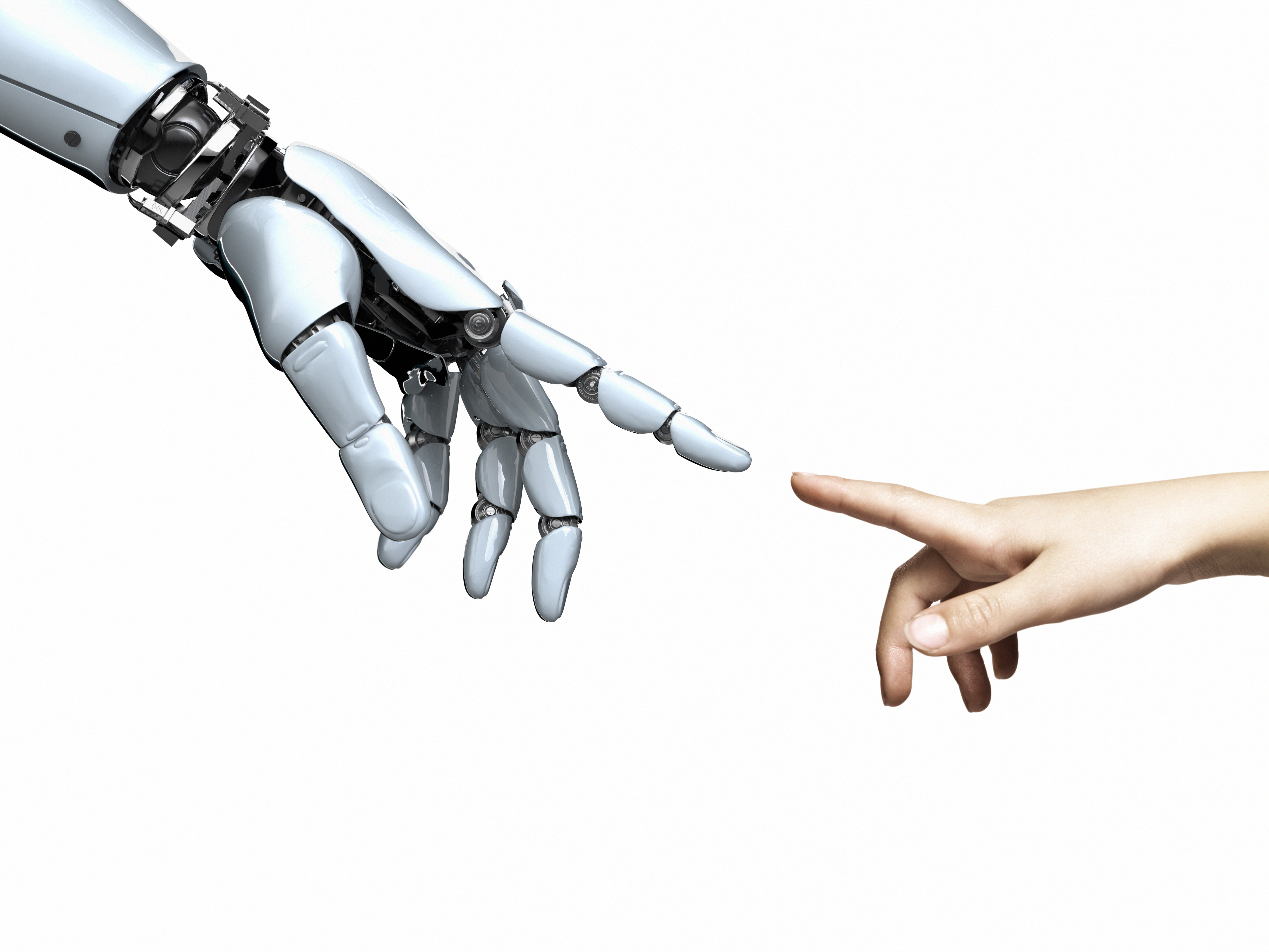 Cybernetic robot hand and child's hand point toward each other.