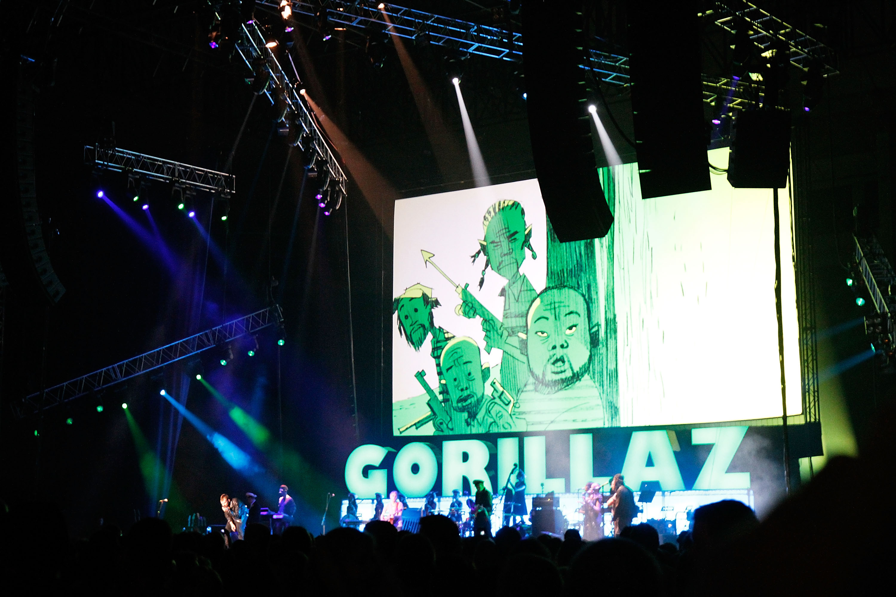 The Gorillaz performs on stage at The Burswood Dome on Dec. 6, 2010 in Perth, Australia.