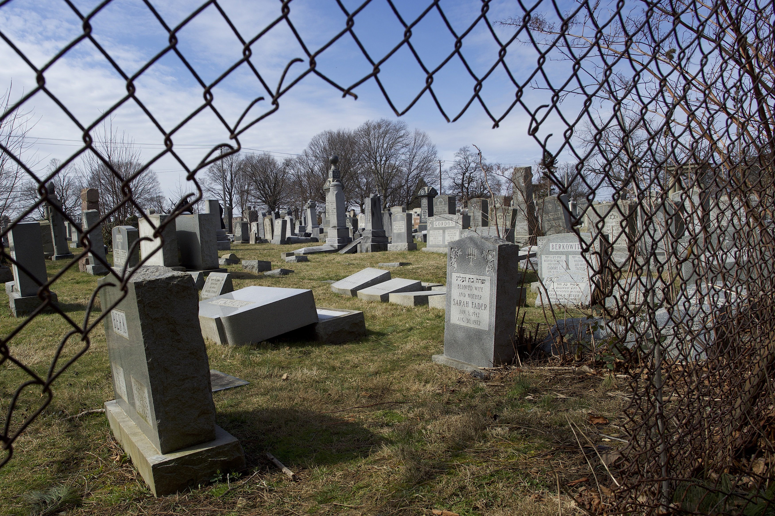 Dozens of Jewish tombstones were vandalized in Philadelphia on Feb.27 in a possible hate crime.