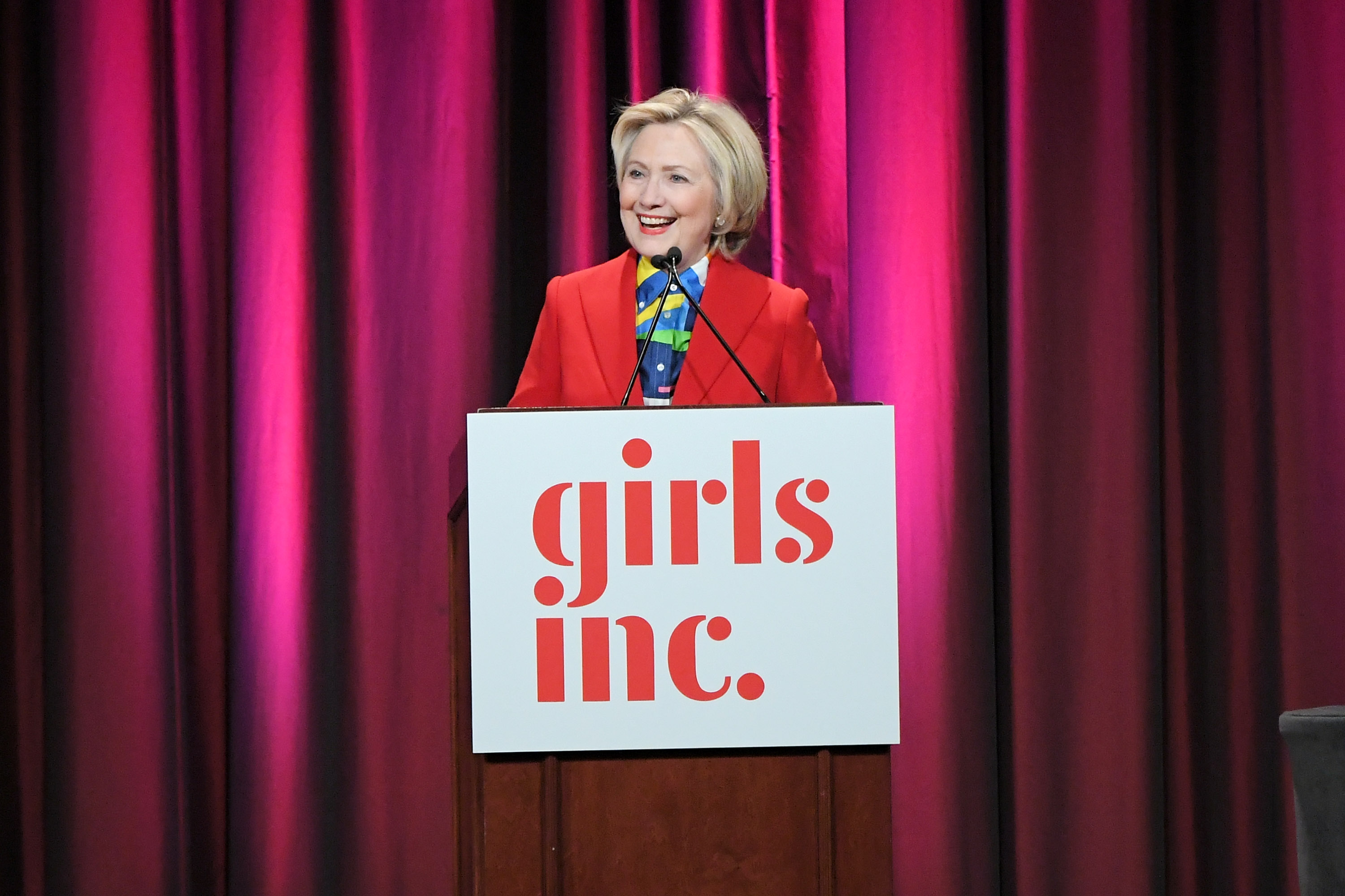 NEW YORK, NY - MARCH 07:  Hillary Clinton speaks onstage during the 2017 Girls Inc. New York luncheon celebrating women of achievement at New York Marriott Marquis Hotel on March 7, 2017 in New York City.  (Photo by Mike Coppola/Getty Images)