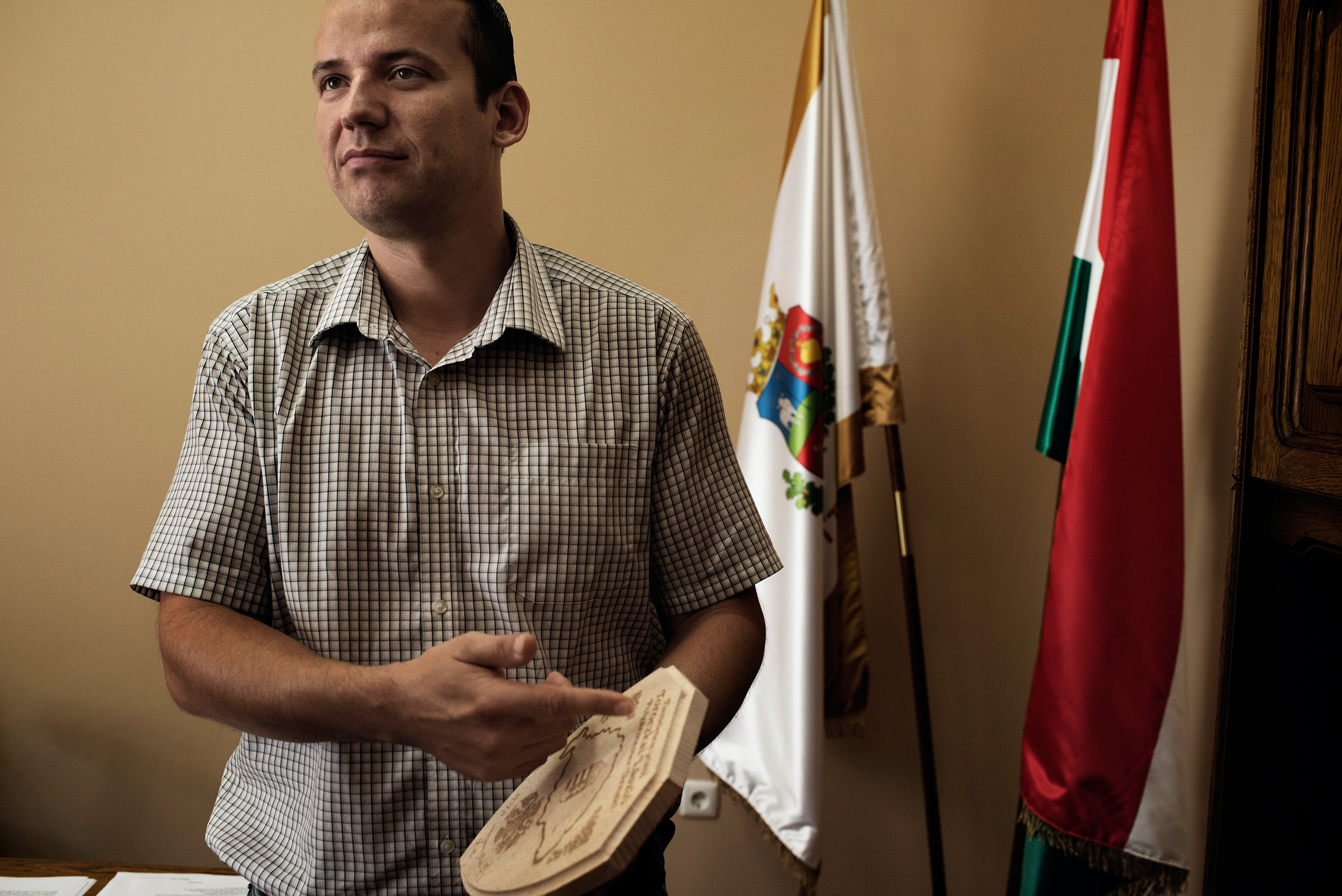 Laszlo Toroczkai, the charismatic young mayor of a Hungarian town right on the border with Serbia, in Asotthalom, September 2015. Toroczkai became a national celebrity for his extreme anti-migration and anti-Islamic views.