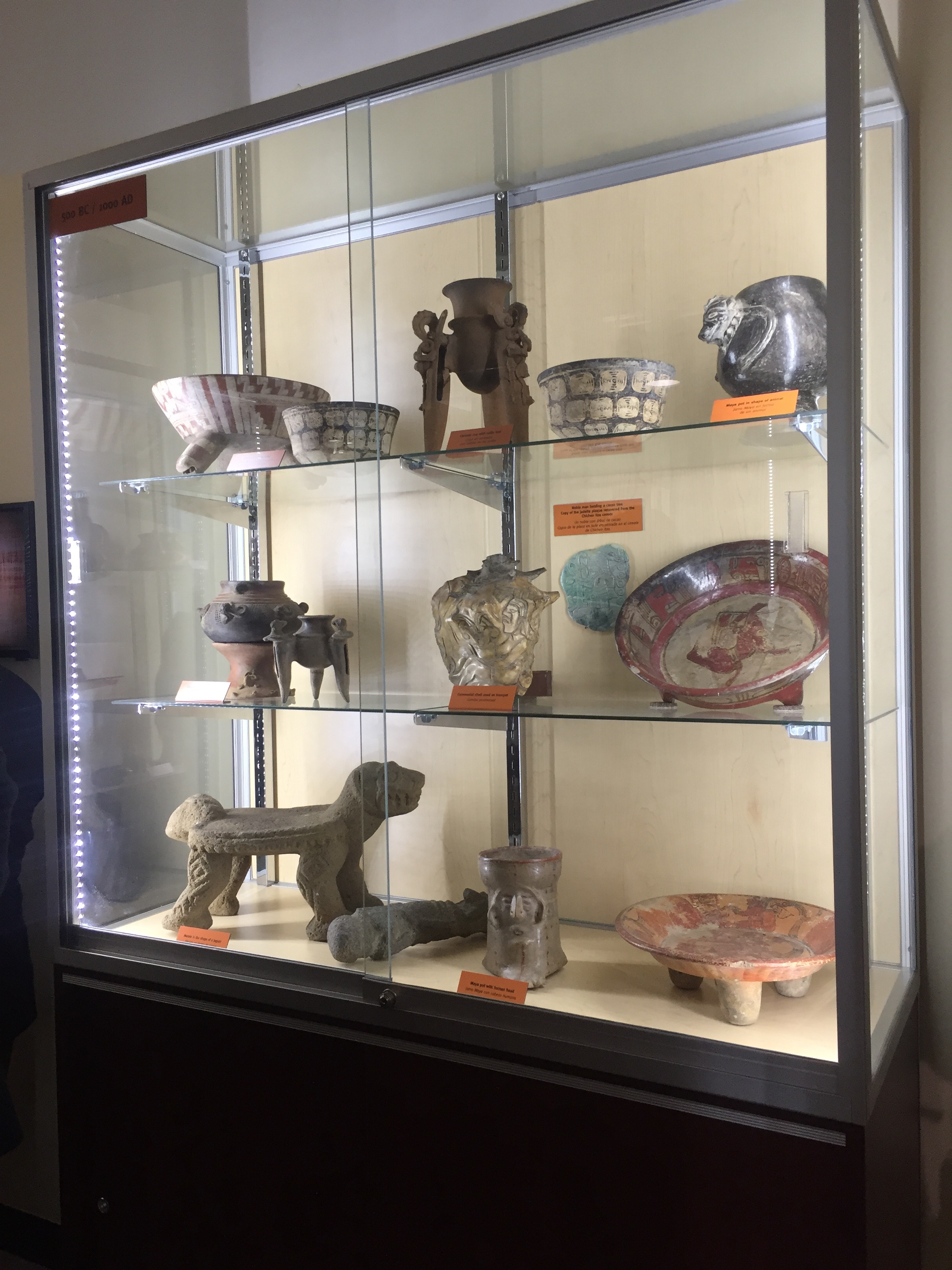 A display case includes the  drinking vessels  considered the origin of the modern-day  cheers  sound.