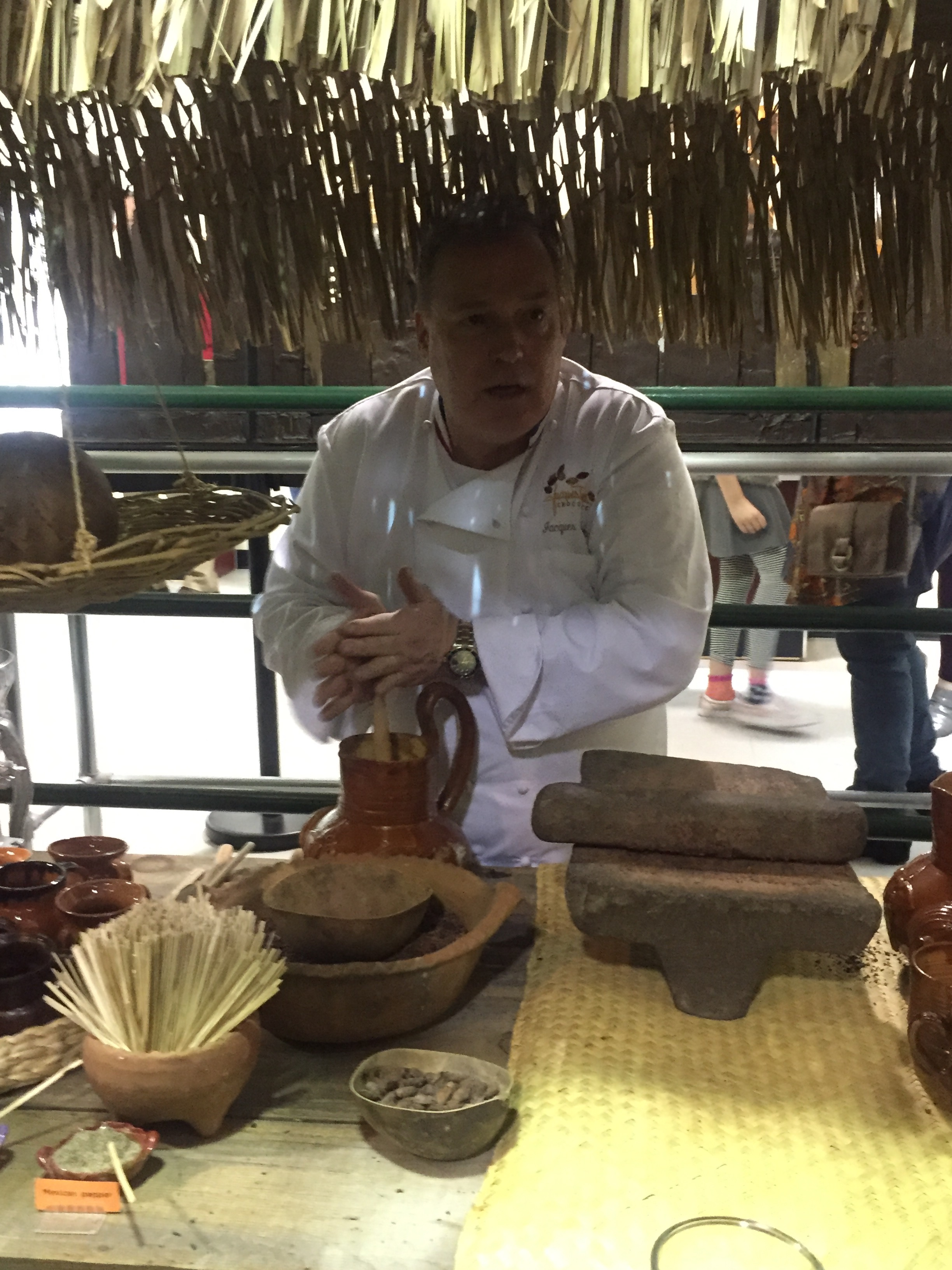 Here, chocolatier Jacques Torres demonstrates the making of Mayan-style hot chocolate, unsweetened.