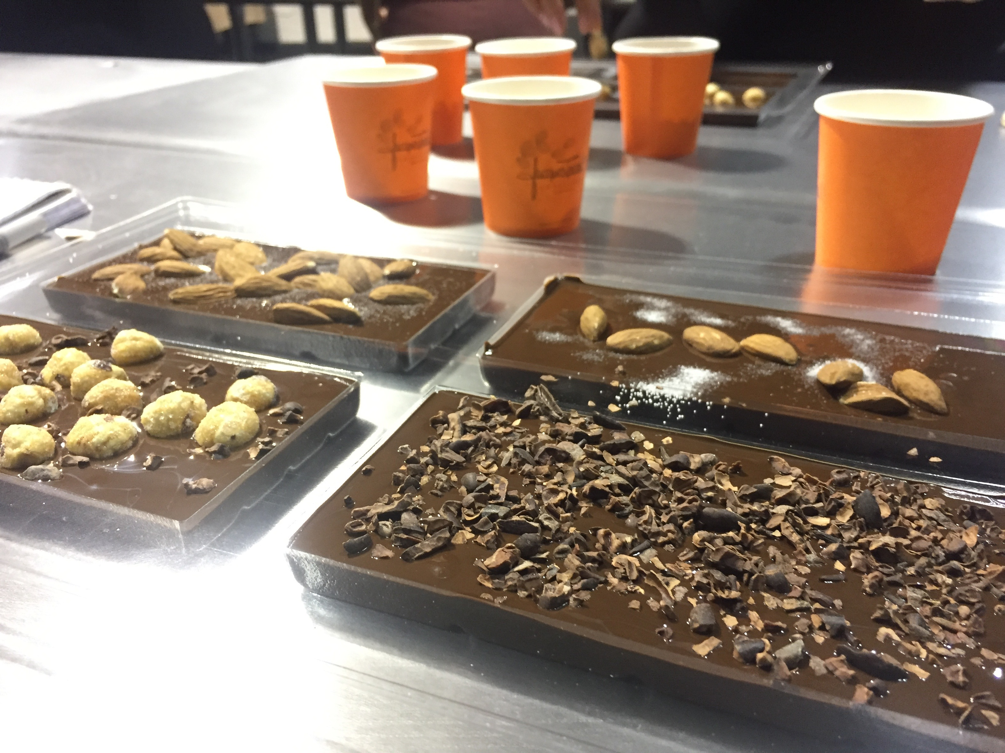 Chocolate bark made at the museum's workspace can be topped with different ingredients before it cools—and taken home after about 15 minutes.