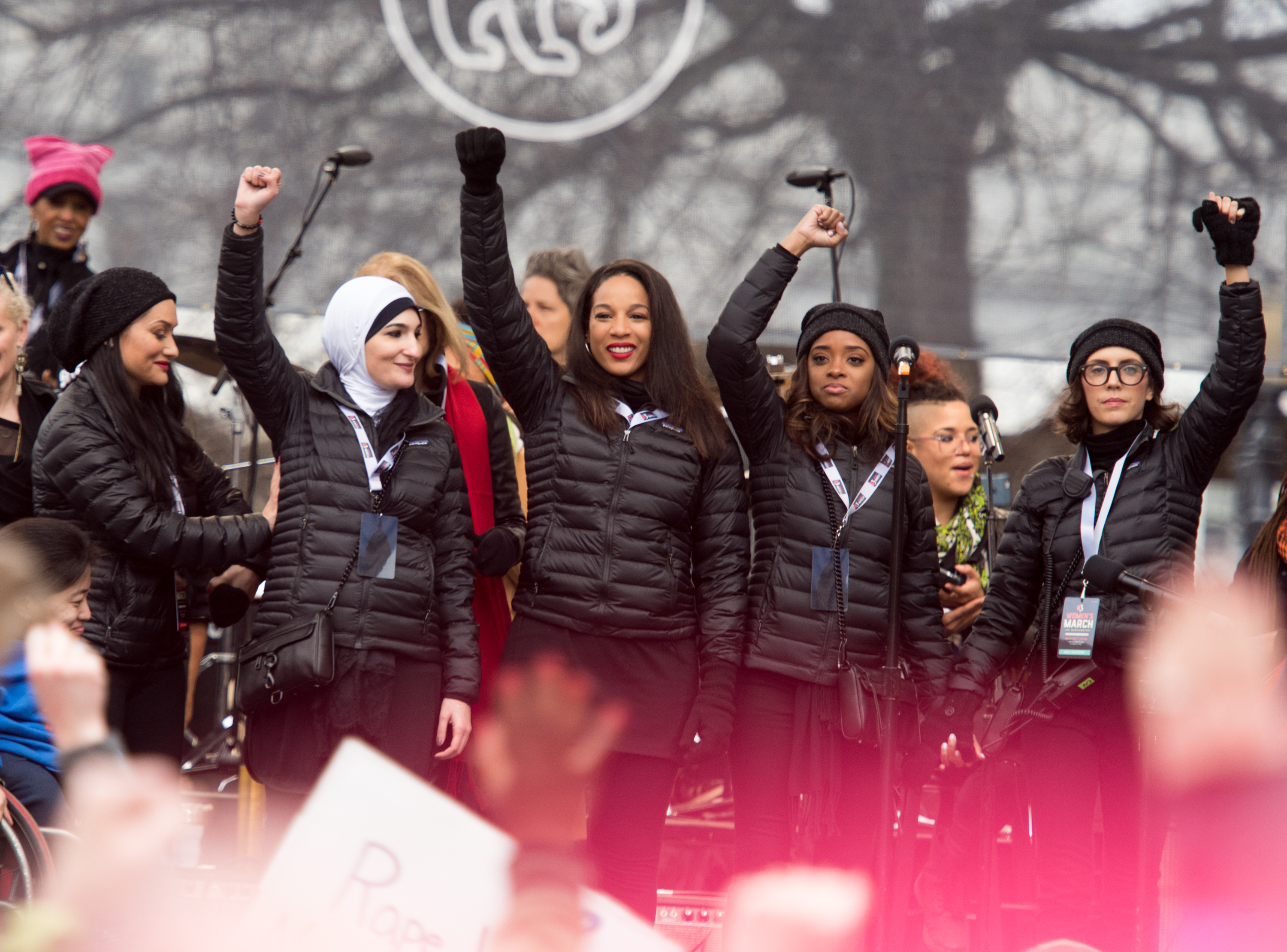 WASHINGTON, DC - JANUARY 21: National Co-Chairs of Women's March Carmen Perez, Linda Sarsour and Tamika D. Mallory attend the Women's March on Washington on January 21, 2017 in Washington, DC.  (Photo by Noam Galai/WireImage)