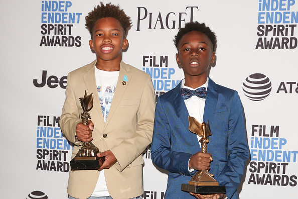 Actors Jaden Piner (L) and Alex R. Hibbert (R) attend the 2017 Film Independent Spirit Awards press room on February 25, 2017 in Santa Monica, California.