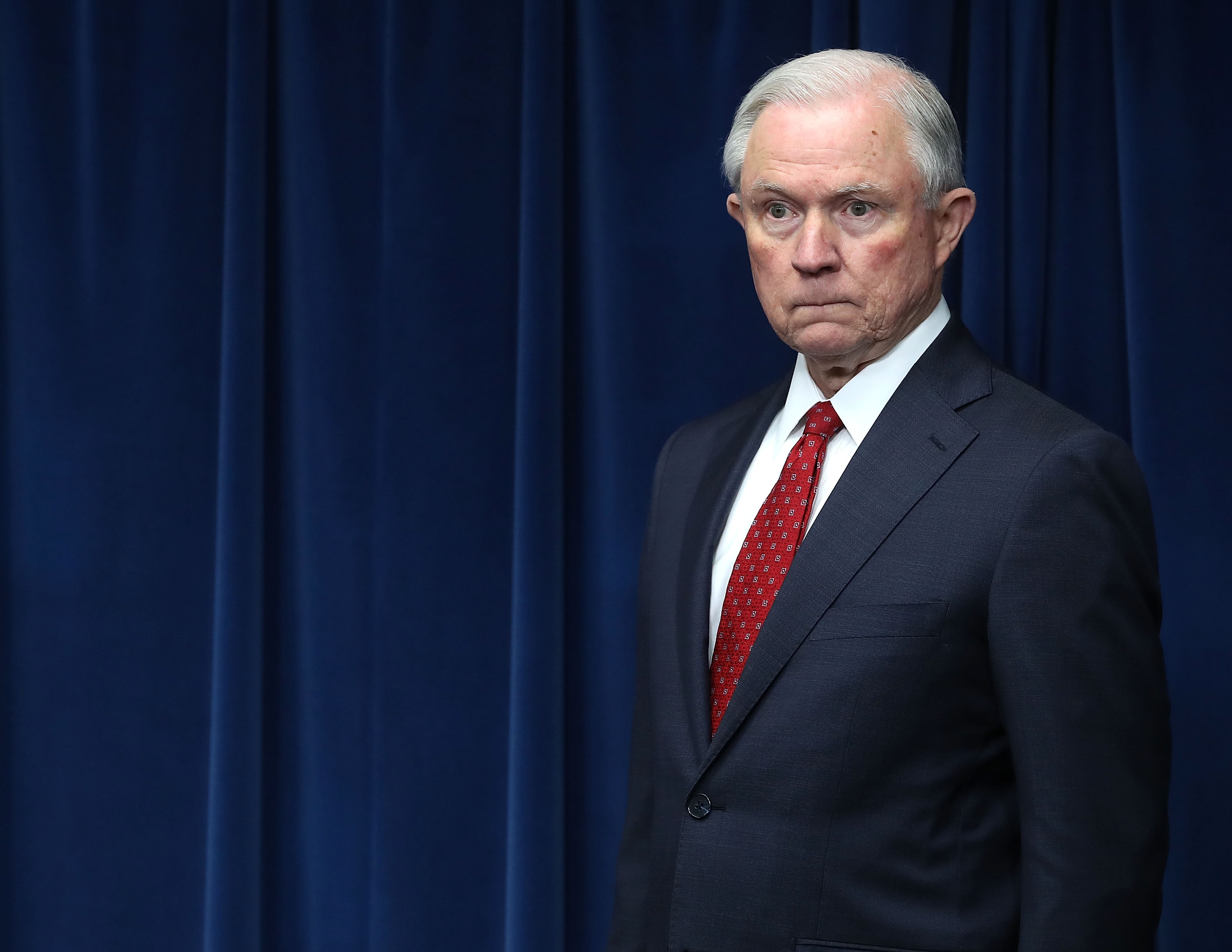 Jeff Sessions during a news conference at the U.S. Customs and Borders Protection headquarters, on March 6, 2017 in Washington, DC.