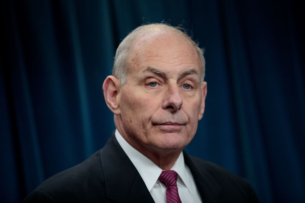 Secretary of Homeland Security John Kelly answers questions during a press conference related to President Donald Trump's recent executive order concerning travel and refugees, January 31, 2017 in Washington, DC.