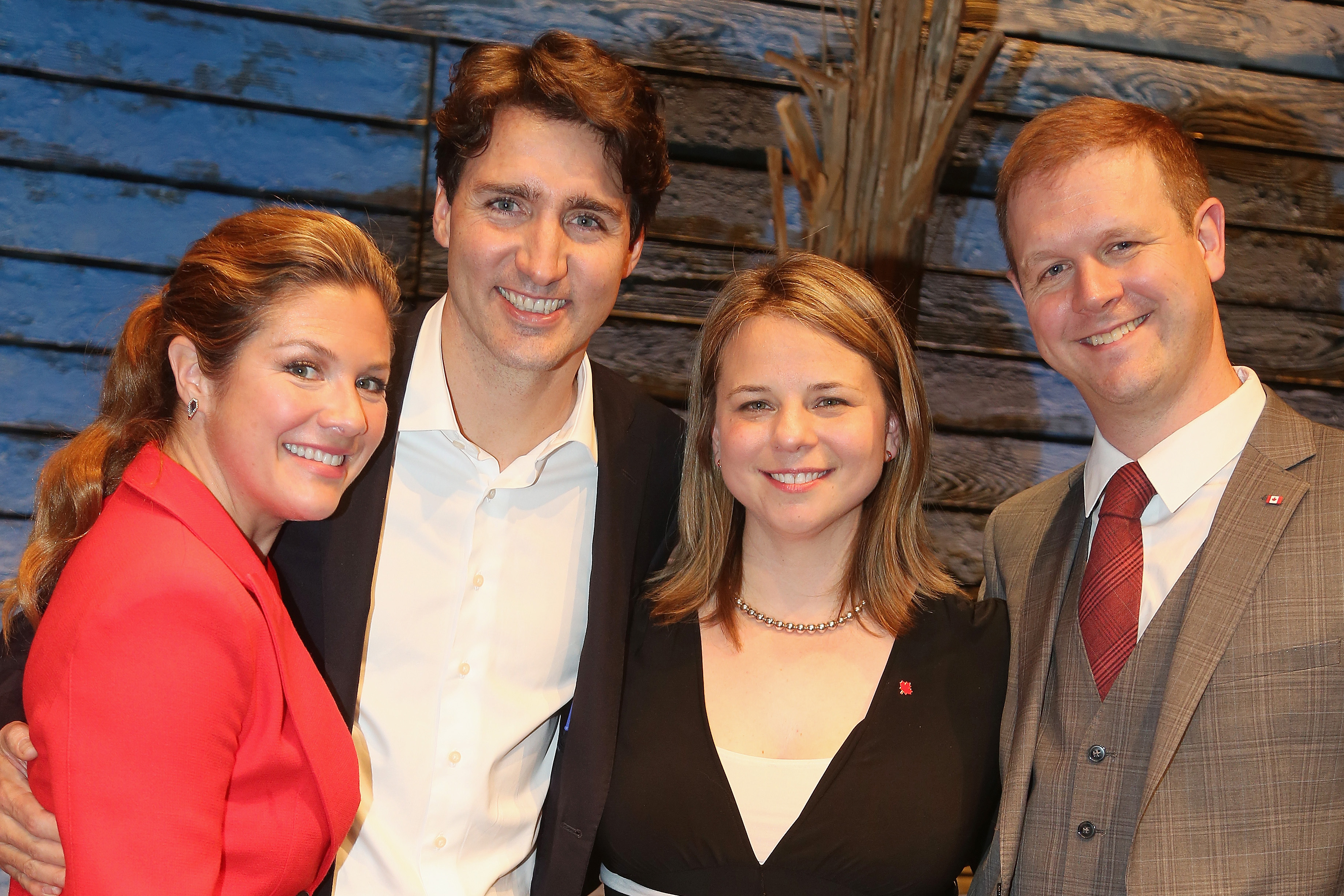 Sophie Gregoire Trudeau, husband Canadian Prime Minister Justin Trudeau,  Come From Away  co-writers Irene Sankoff and David Hein pose backstage at the hit musical  Come from Away  on Broadway at The Schoenfeld Theatre on March 15, 2017 in New York City.