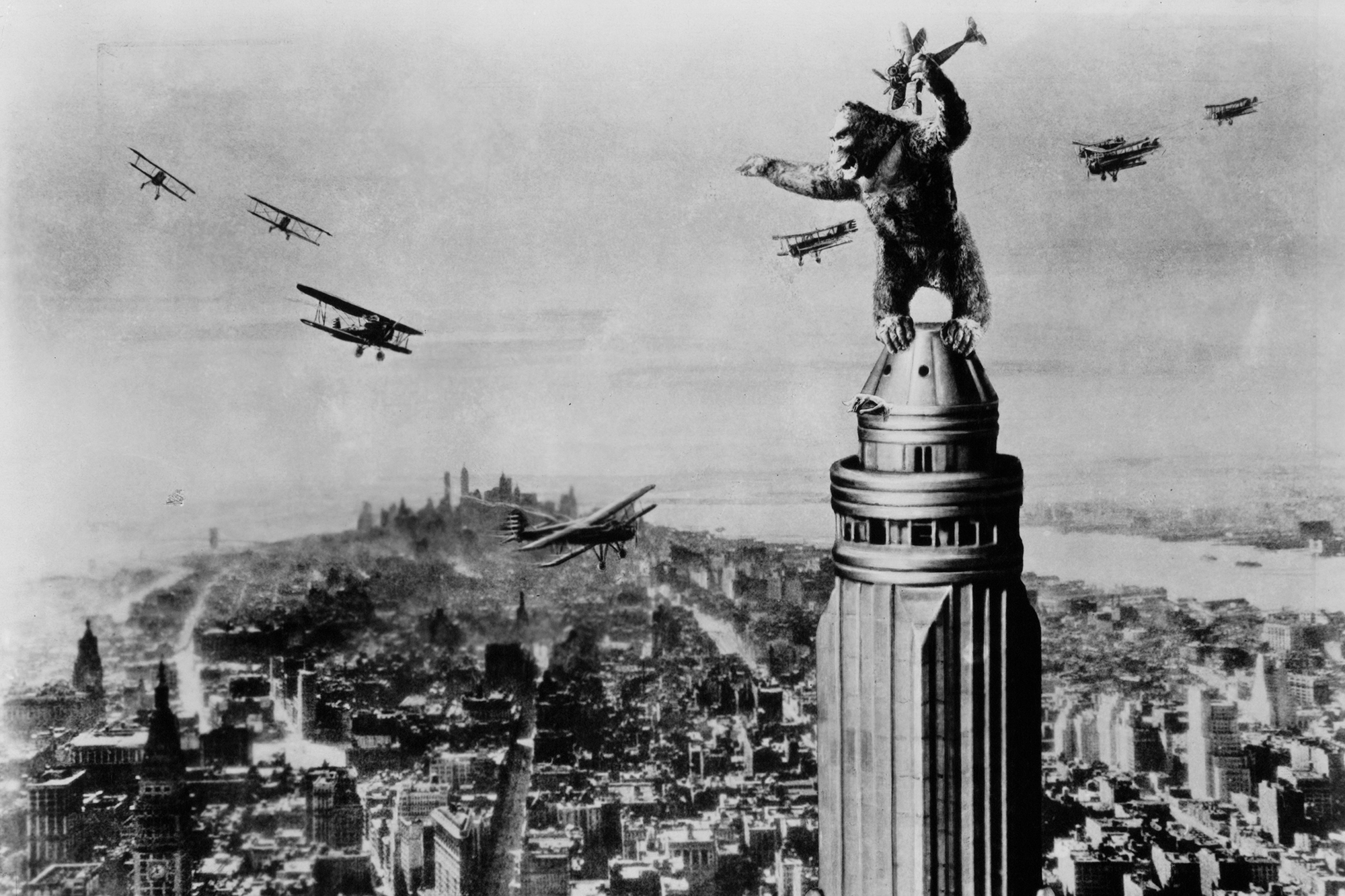 King Kong, 1933: The first Kong was a feat of stop-motion animation. Footage of puppets—no bigger than 2 ft. tall and constructed from ball-and-socket joints and rabbit fur—was combined with live-action shots using techniques like double exposure and matte painting, with one minute of film taking as long as 150 hours to produce.