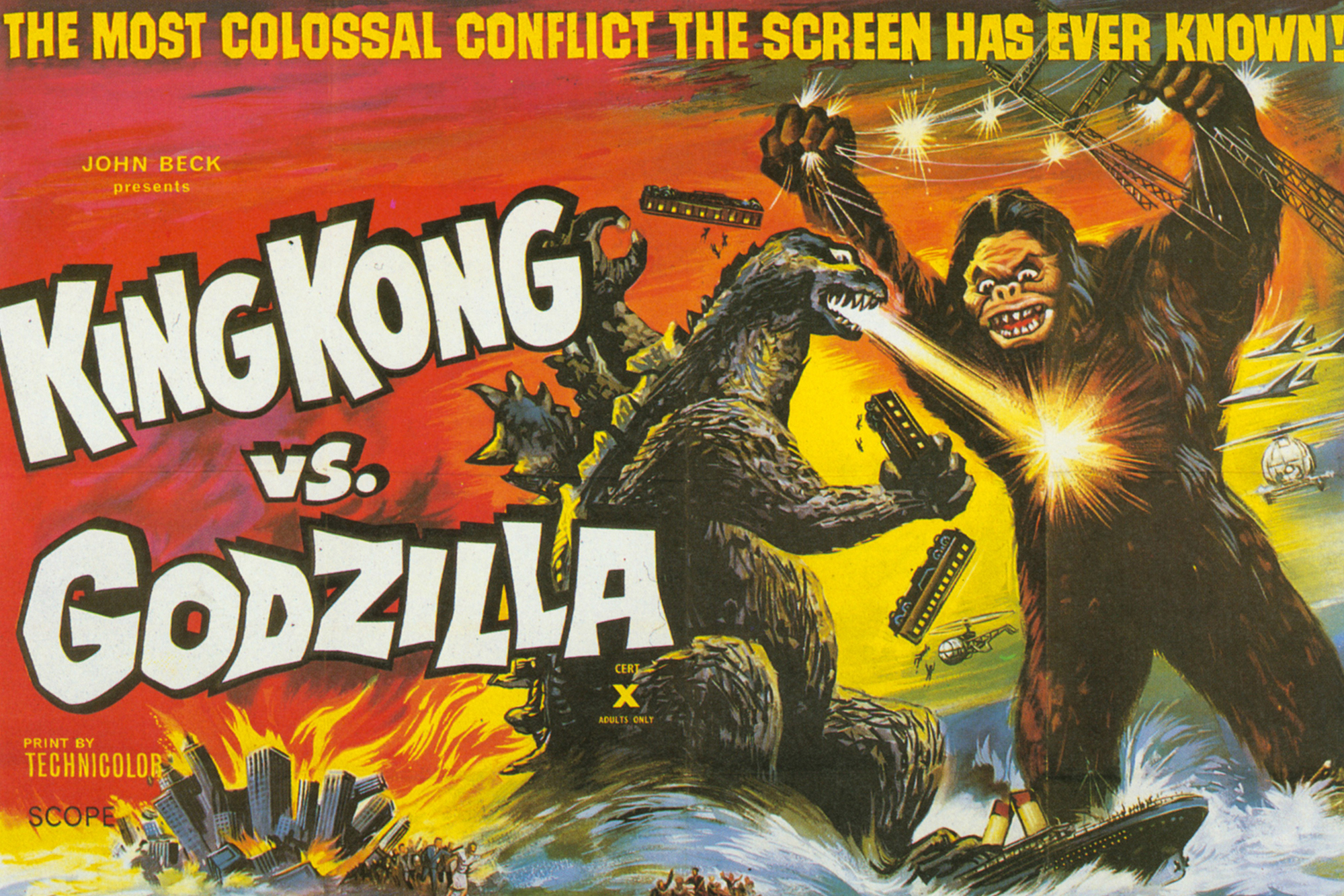 King Kong vs. Godzilla, 1962: Through a process called suitmation, developed by special-effects innovator Eiji Tsuburaya for the first Godzilla movie, Kong was revived by a man in a rubber gorilla suit moving through small-scale models that made him appear larger. The actors who played both monsters drew inspiration from professional wrestlers.