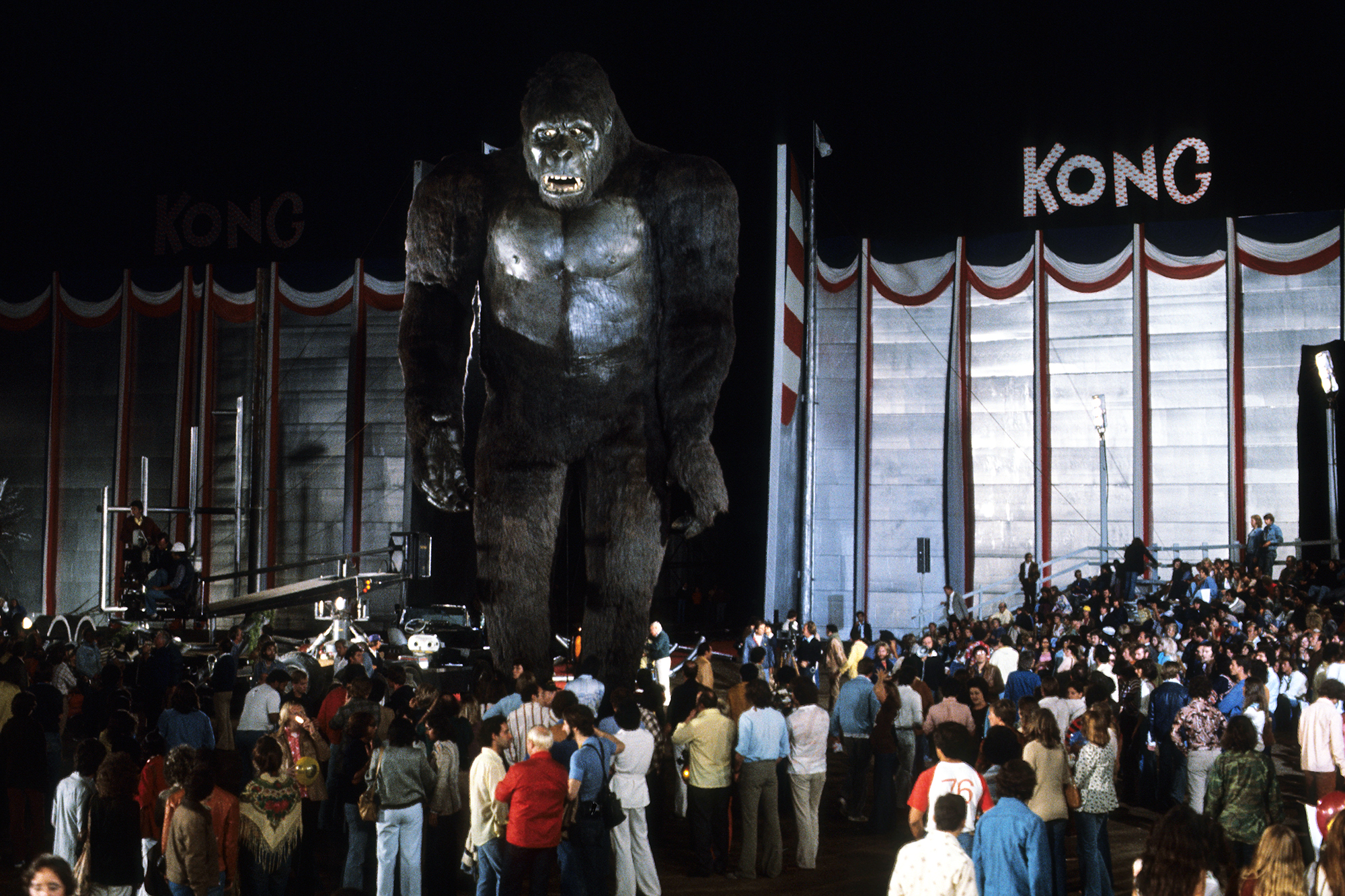 King Kong, 1976:This ambitious remake went big with a 40-ft. mechanical Kong, covered in horse hair and controlled by hydraulics. But its construction was plagued with cost overruns and on-set mishaps, and the robotic ape was used in less than one minute of the final cut. The rest of the footage relied on an actor in a gorilla suit who used a series of masks to convey different emotions, and mechanical hands big enough to hold actor Jessica Lange.