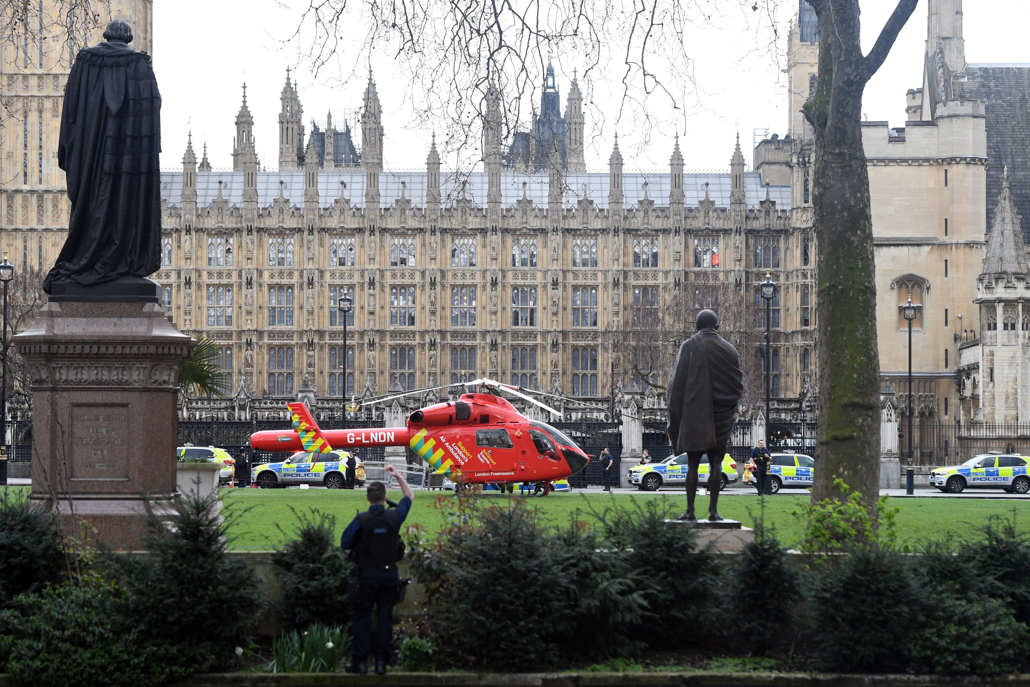 An Air Ambulance outside the Palace of Westminster after sounds similar to gunfire have been heard, on March 22, 2017.