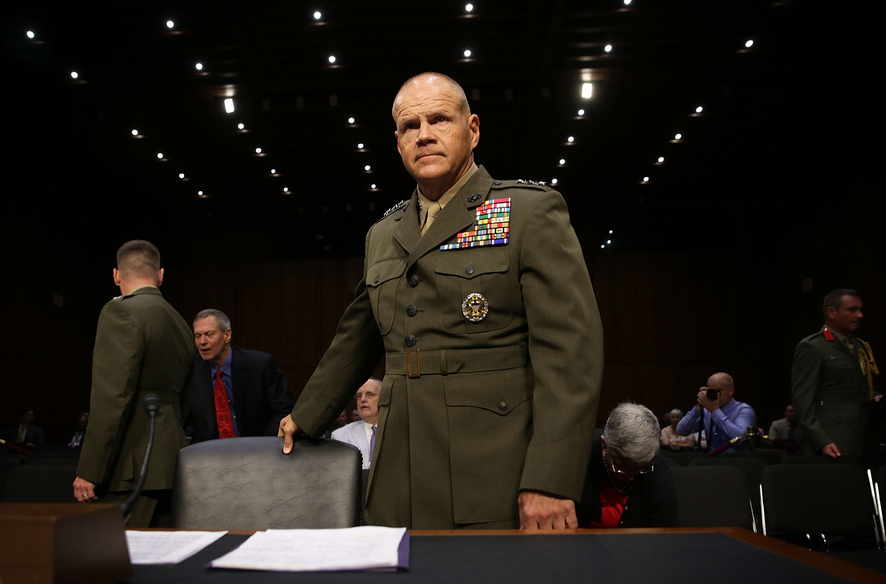 Lt. Gen. Robert Neller takes his seat during his confirmation hearing before the Senate Armed Services Committee on July 23, 2015 on Capitol Hill in Washington, D.C.