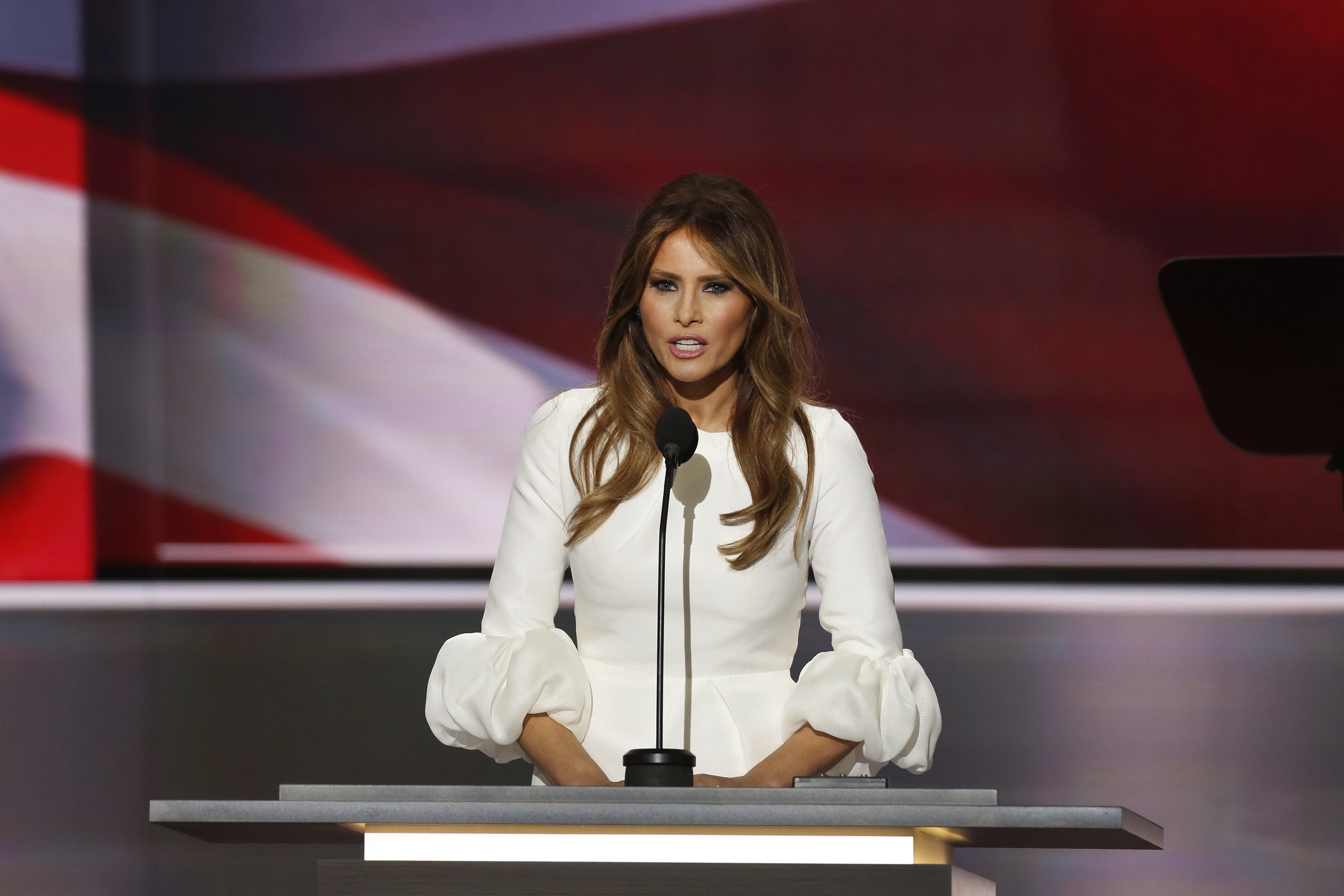 Melania Trump speaks during the Republican National Convention on July 18, 2016 in Cleveland, Ohio.