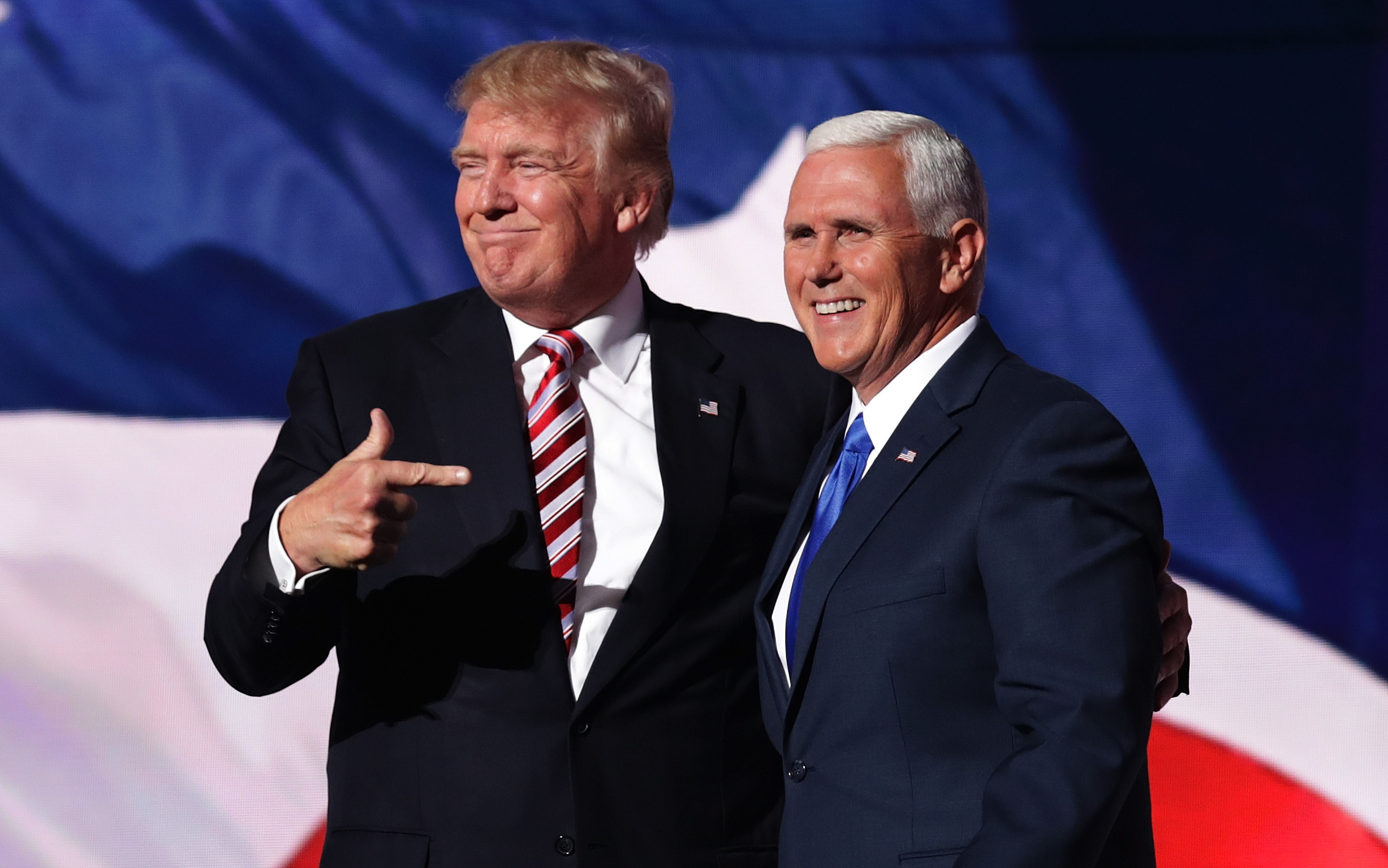Then-GOP presidential candidate Donald Trump stands with Mike Pence at the Republican National Convention in Cleveland, Ohio.